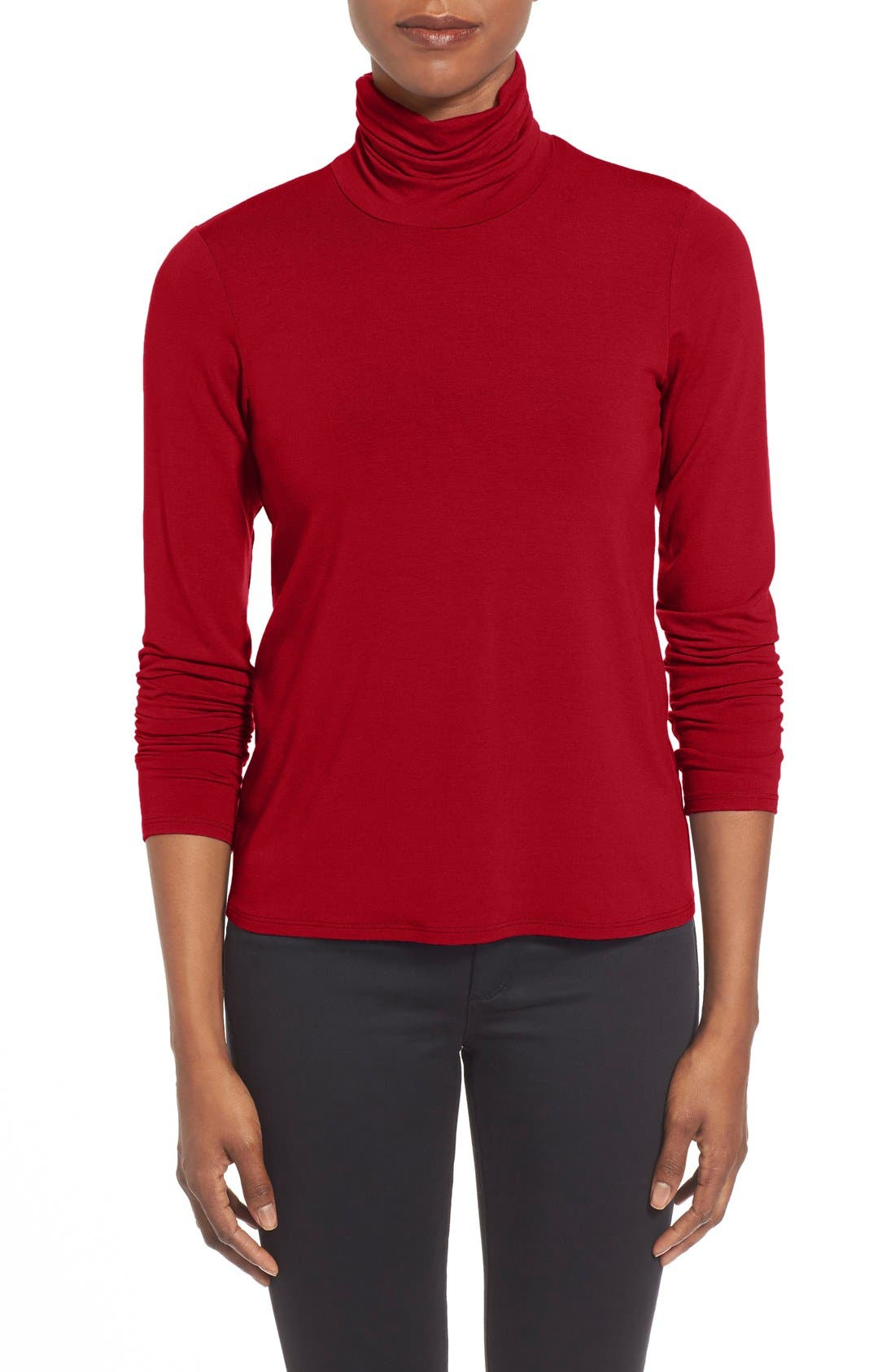 Main Image - Eileen Fisher Scrunch Neck Top (Regular & Petite)