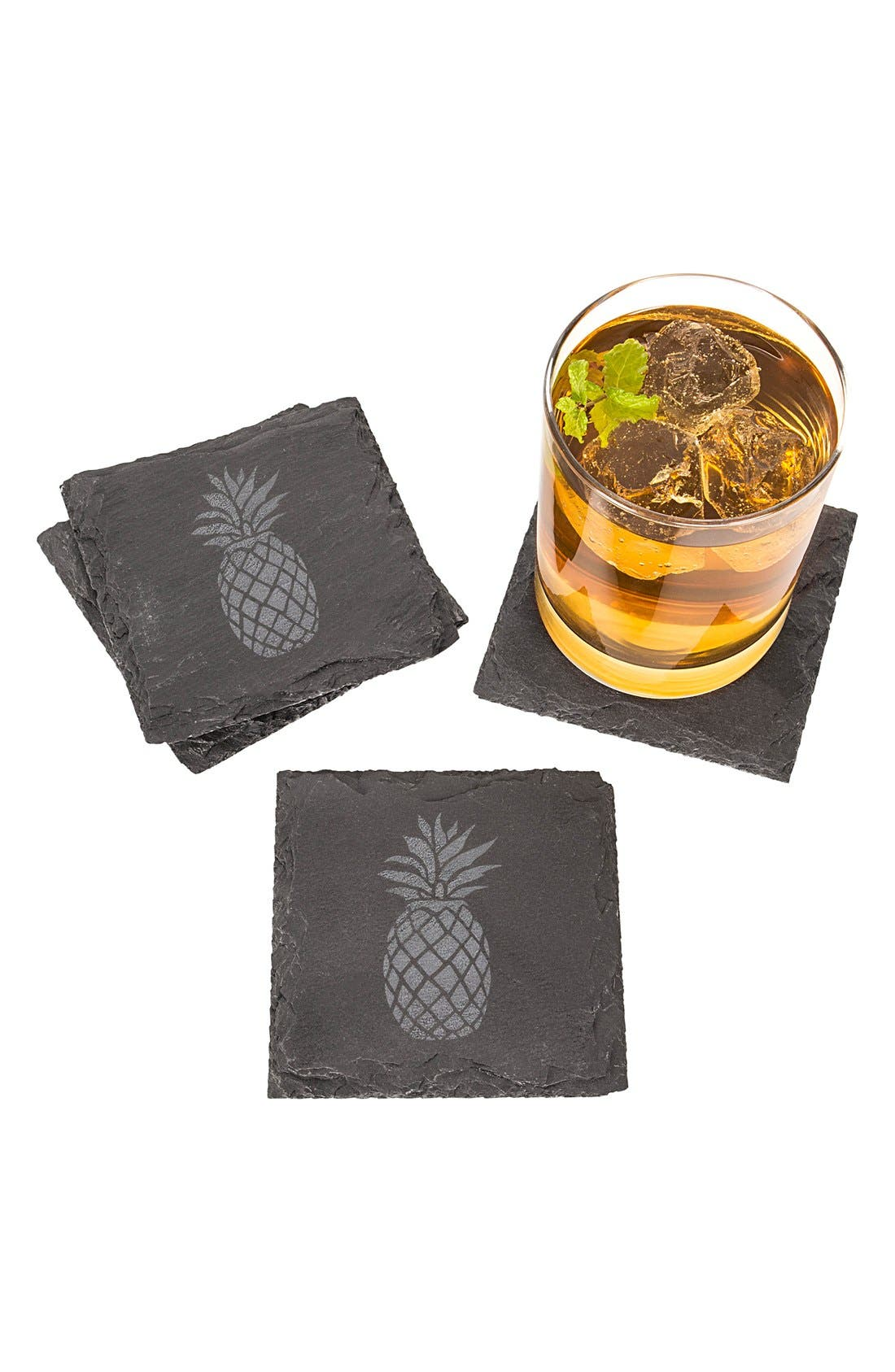 Set of 4 Pineapple Coasters,                         Main,                         color, Grey