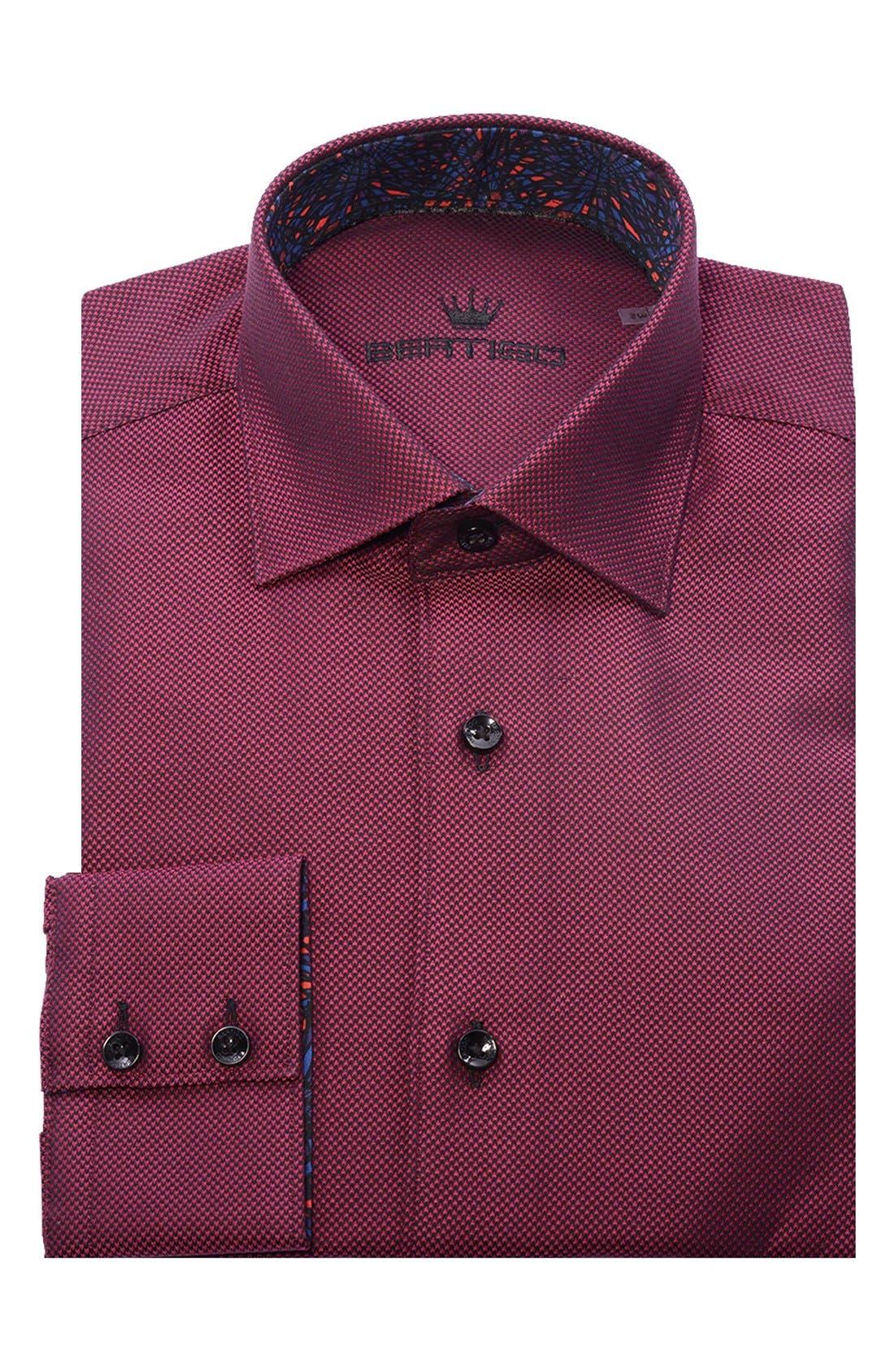 White Arrow Dobby Modern Fit Sport Shirt,                             Alternate thumbnail 4, color,                             Red