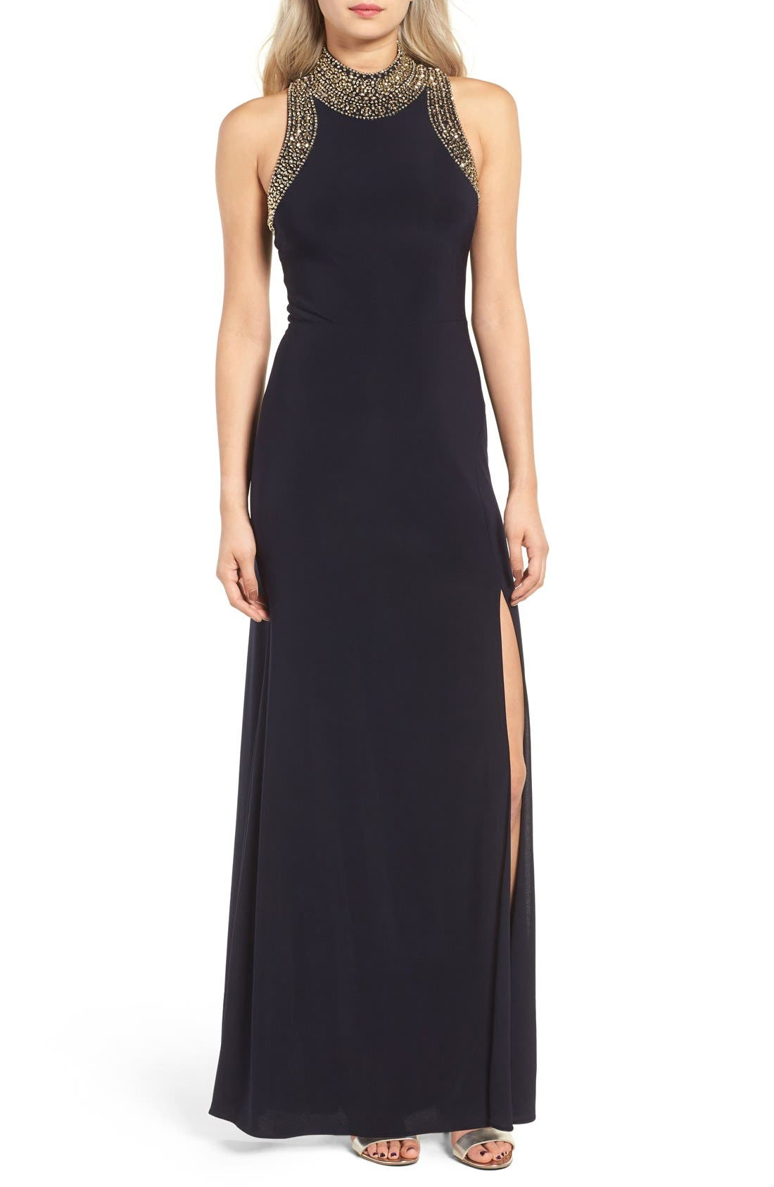 Embellished Gown,                         Main,                         color, Navy/ Gold