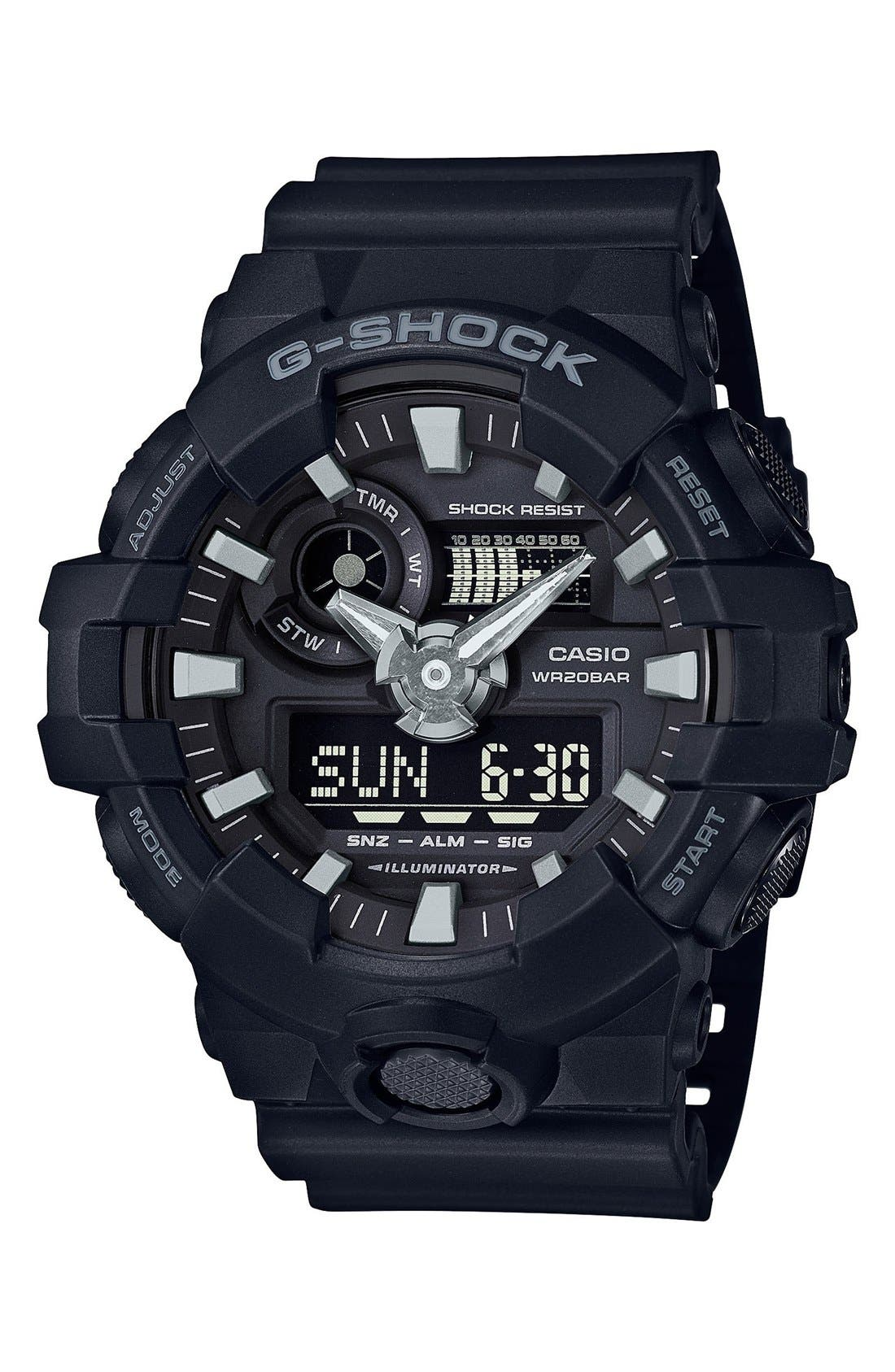 G-Shock Front Button Watch, 55mm,                             Main thumbnail 1, color,                             Black/ Black