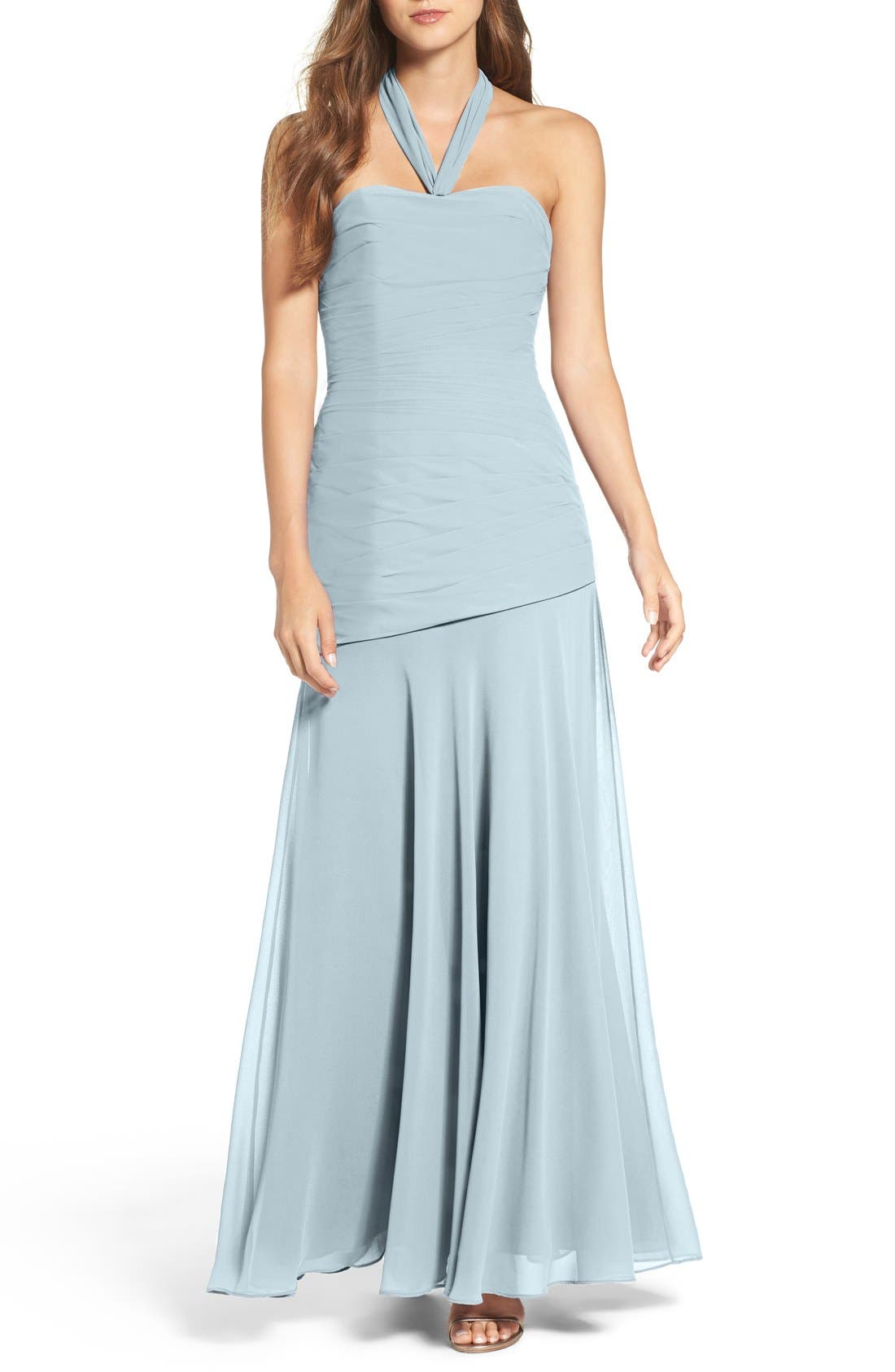 Chiffon Halter Gown,                             Main thumbnail 1, color,                             Light Blue