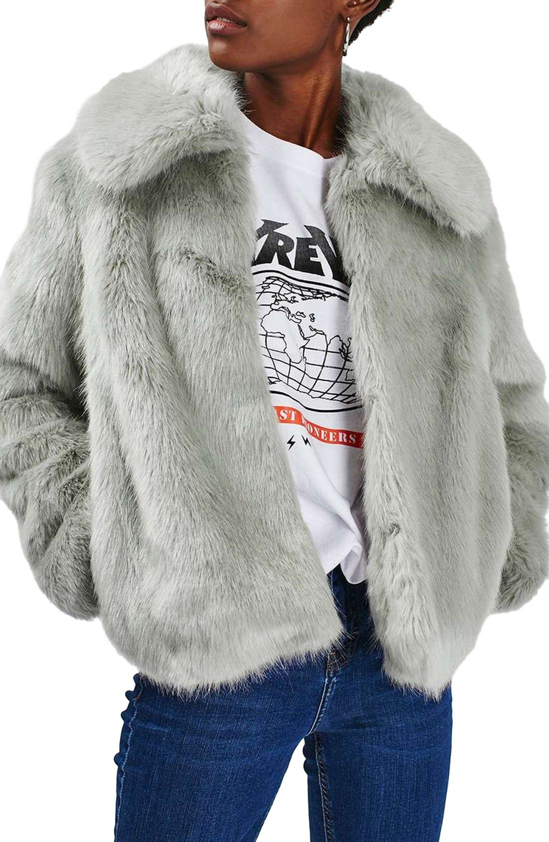 Alternate Image 1 Selected - Topshop Claire Faux Fur Coat