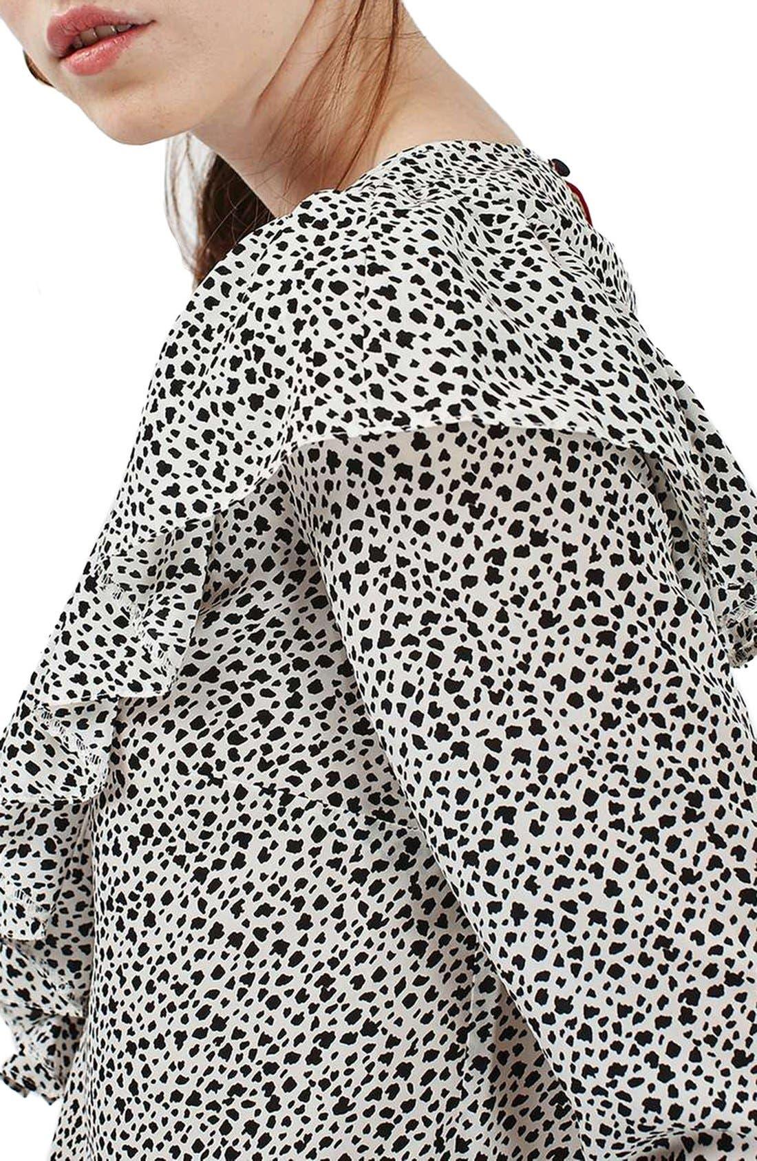 Alternate Image 5  - Topshop Animal Print Ruffle Blouse