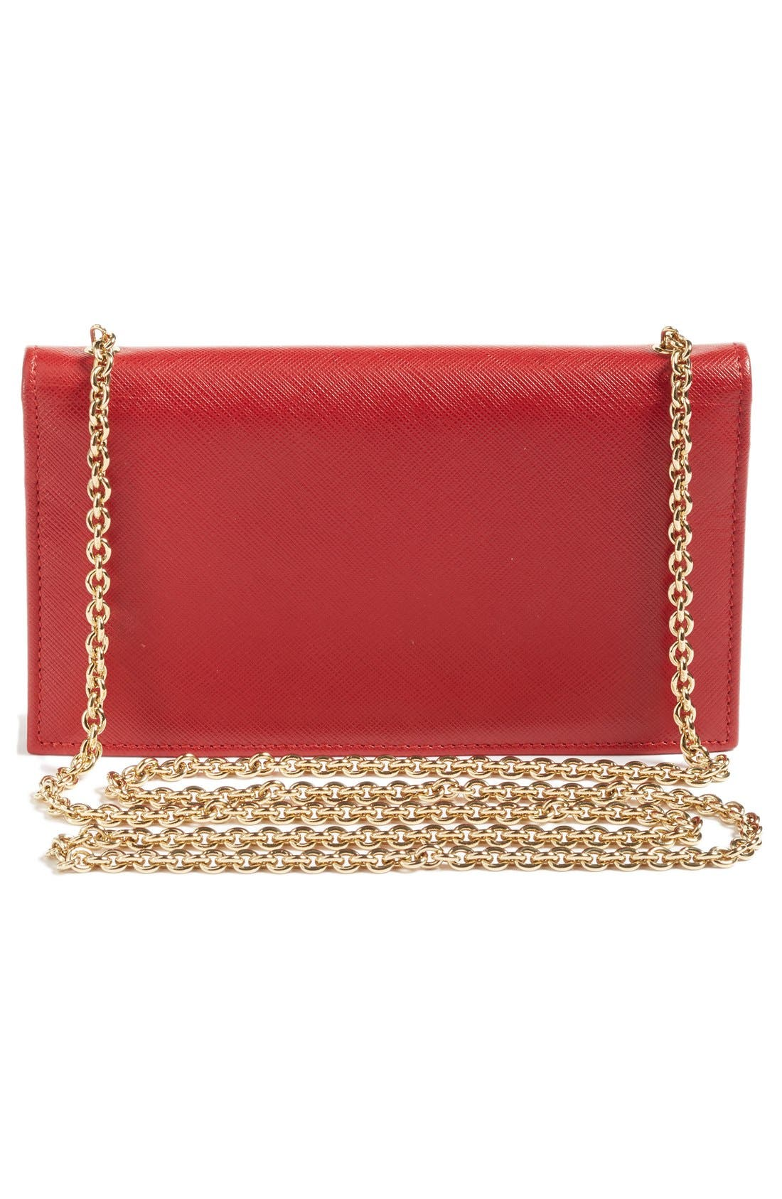 Salavatore Ferragamo Vara Leather Wallet on a Chain,                             Alternate thumbnail 3, color,                             Red