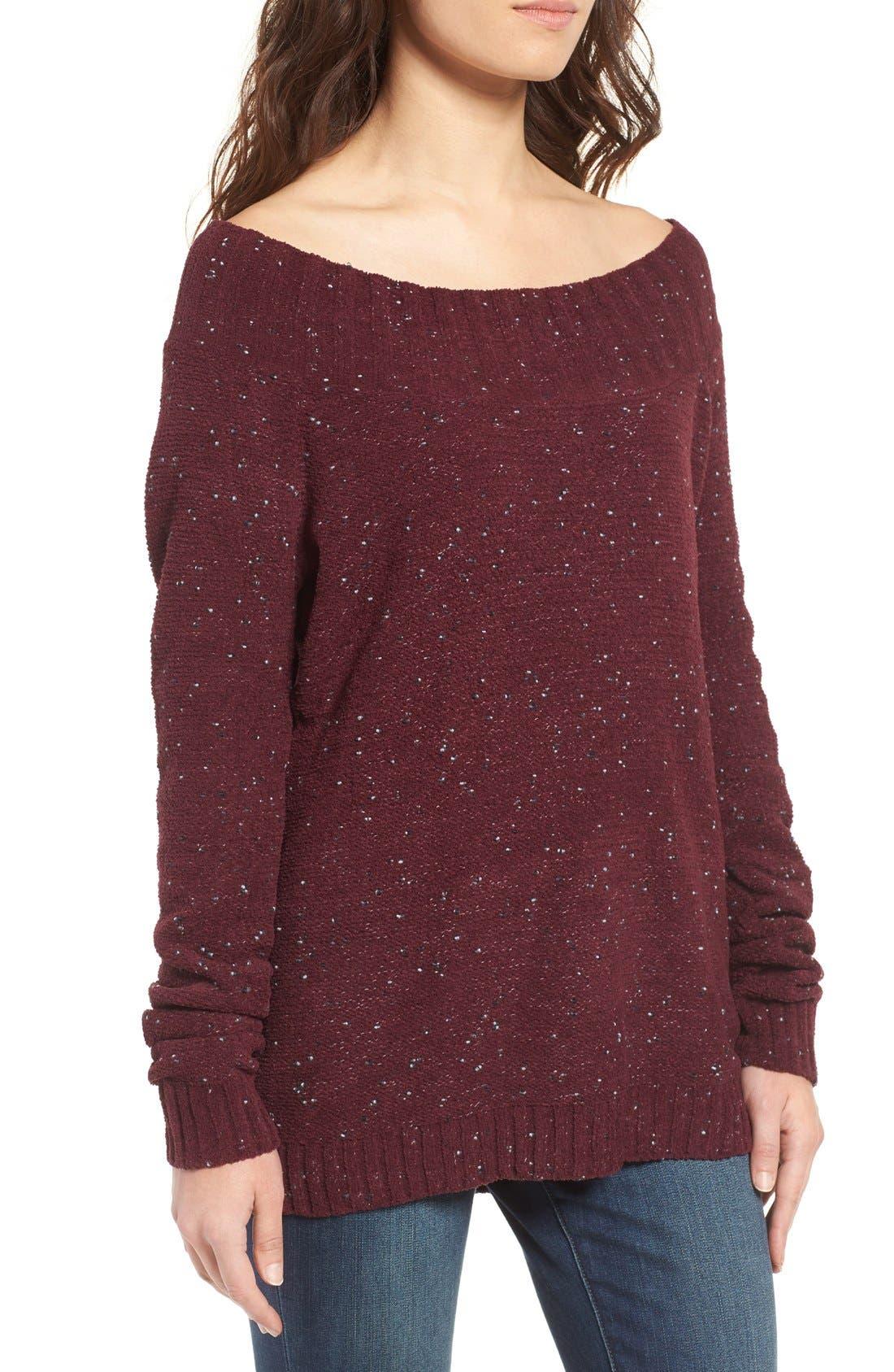 'Marilyn' Sweater,                             Alternate thumbnail 3, color,                             Burgundy Stem Chenille Combo