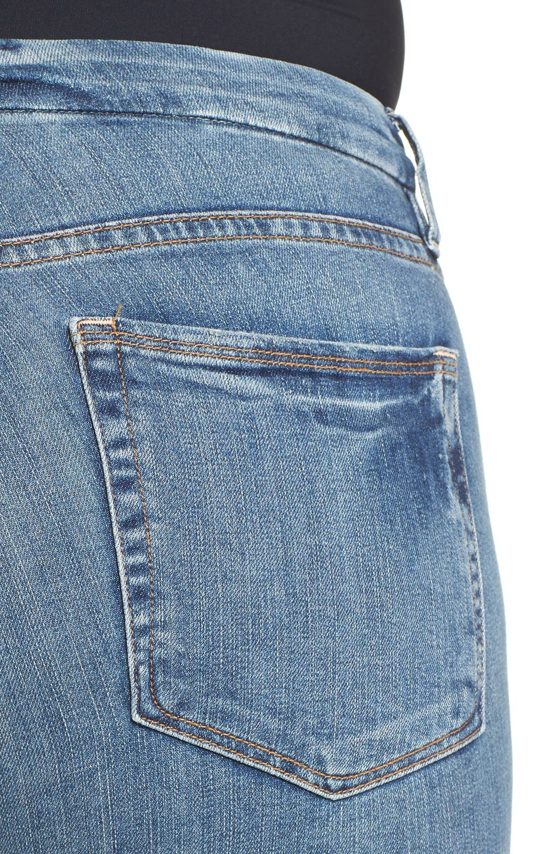 Alternate Image 8  - Good American Good Legs High Rise Ripped Skinny Jeans (Blue 006)