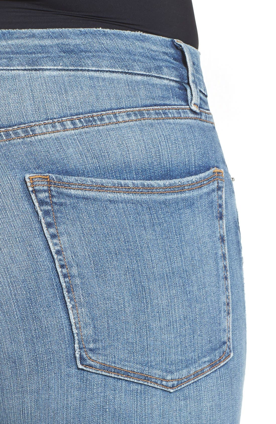 Alternate Image 9  - Good American Good Cuts High Rise Boyfriend Jeans (Blue 012) (Extended Sizes)