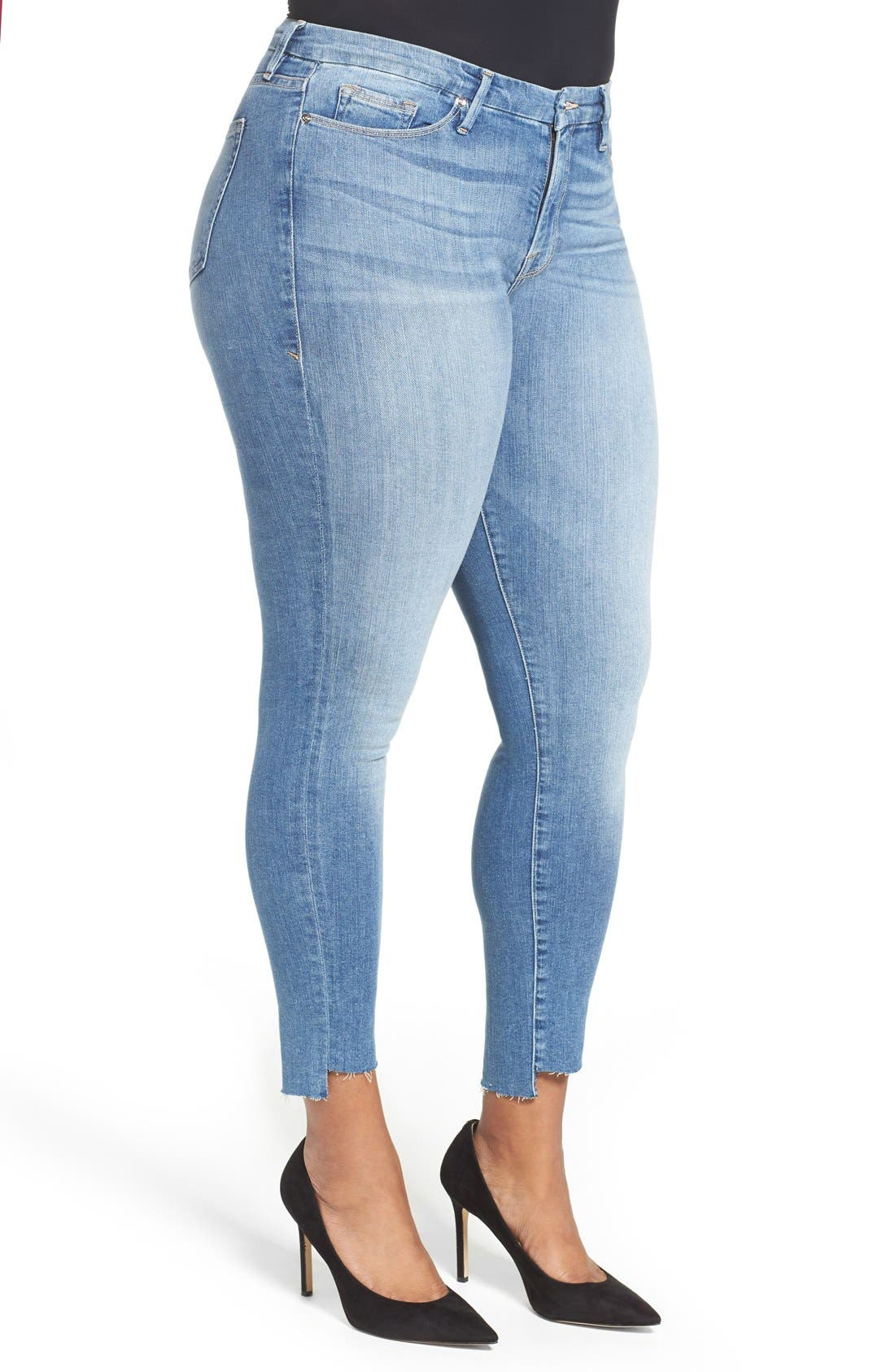 Alternate Image 8  - Good American Good Legs High Waist Skinny Jeans (Blue 007) (Extended Sizes)