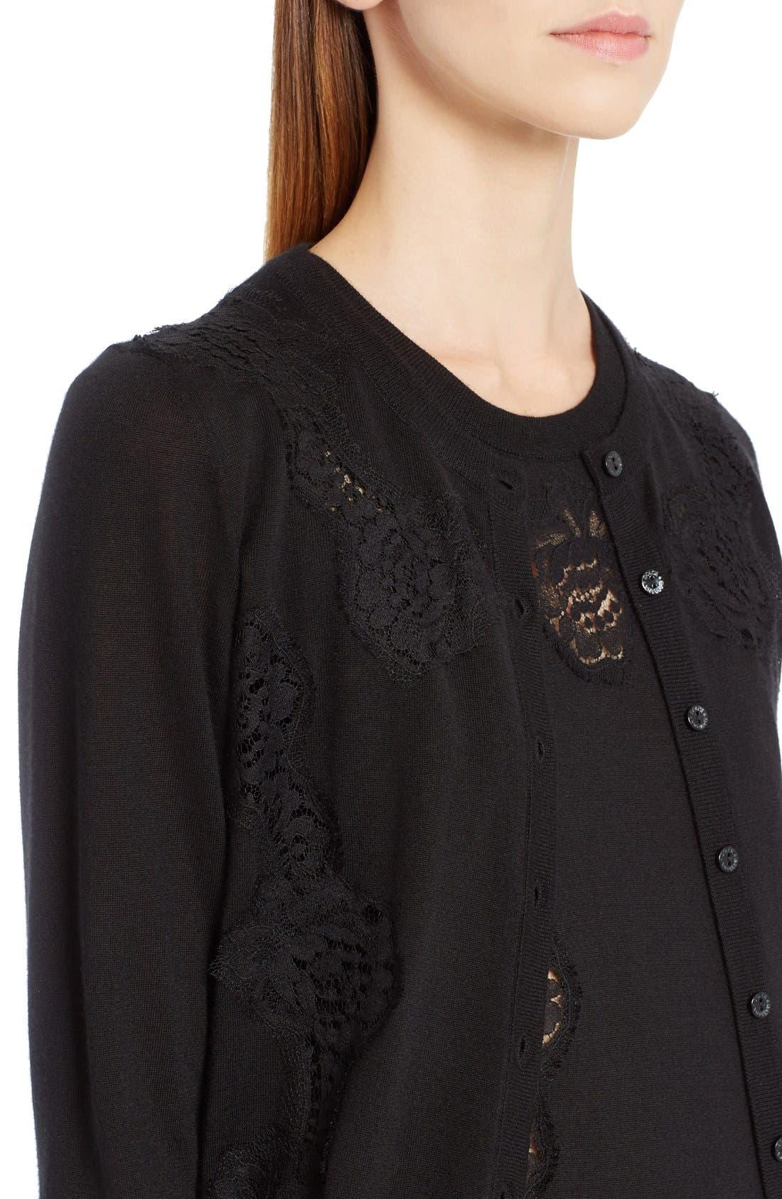Alternate Image 5  - Dolce&Gabbana Lace Inset Cashmere Blend Cardigan