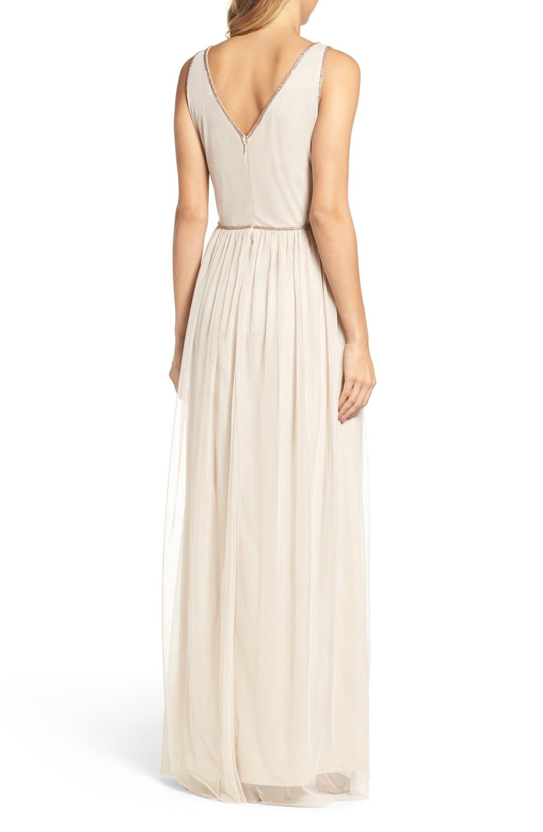 Alternate Image 2  - Adrianna Papell V-Neck Embroidered Bodice Gown