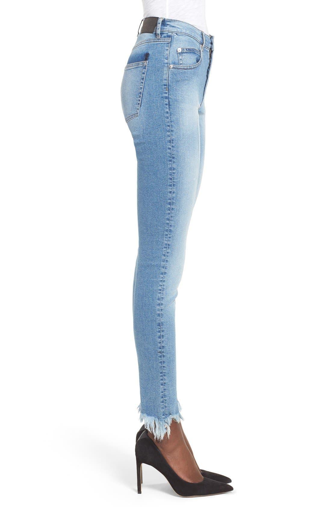 Alternate Image 3  - Cheap Monday Second Frayed Hem Skinny Jeans (Edit Blue)