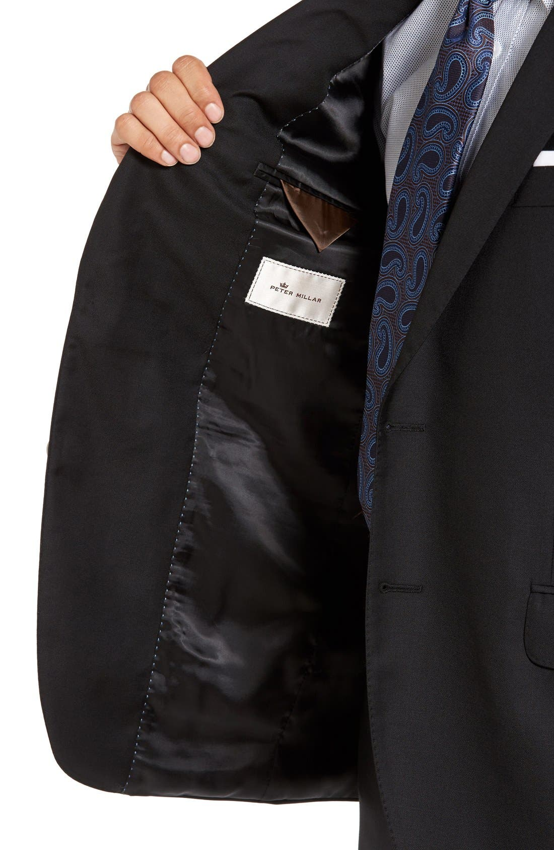 Flynn Classic Fit Solid Wool Suit,                             Alternate thumbnail 4, color,                             Black
