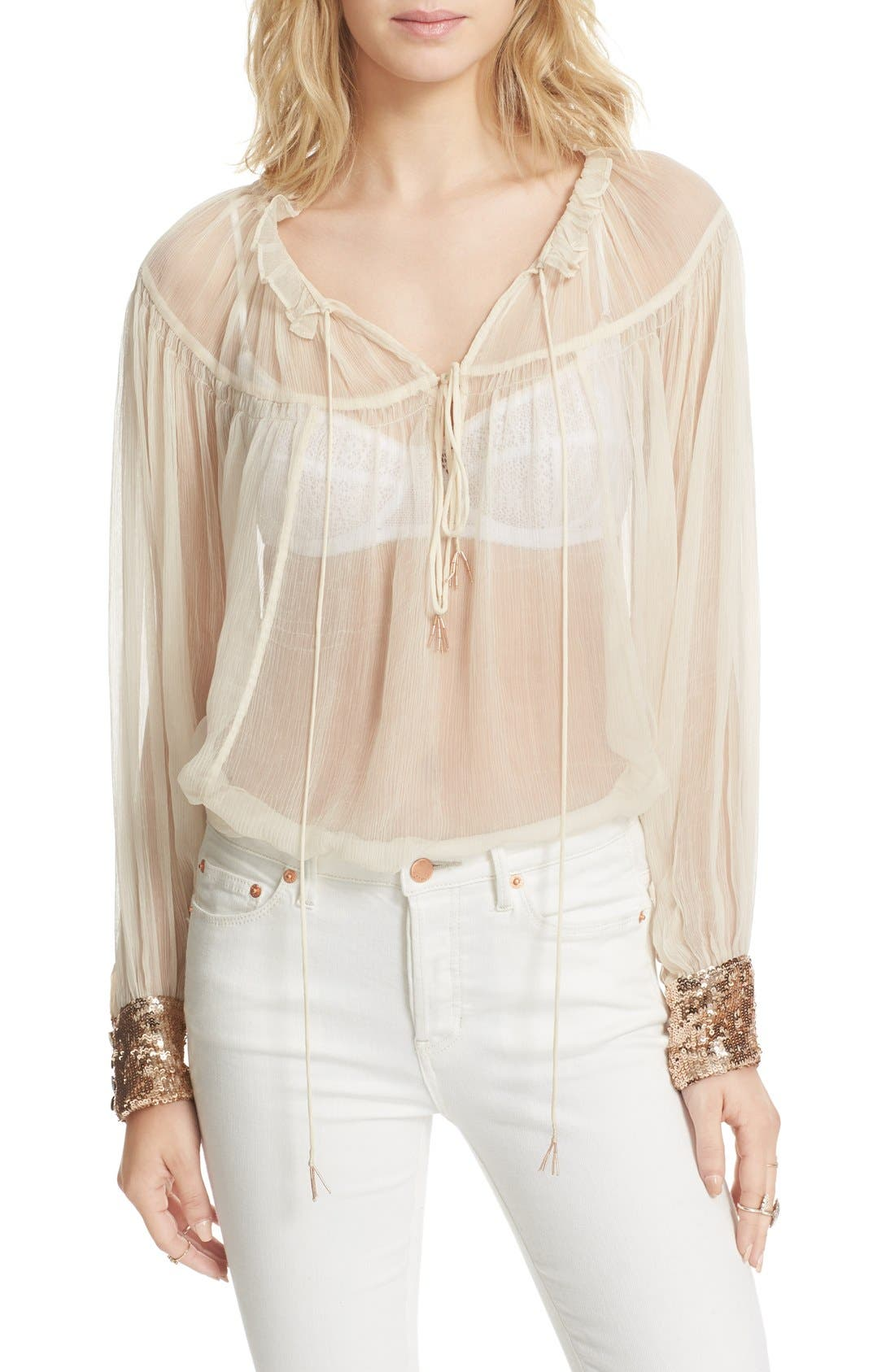Dream Cuff Blouse,                         Main,                         color, Ivory