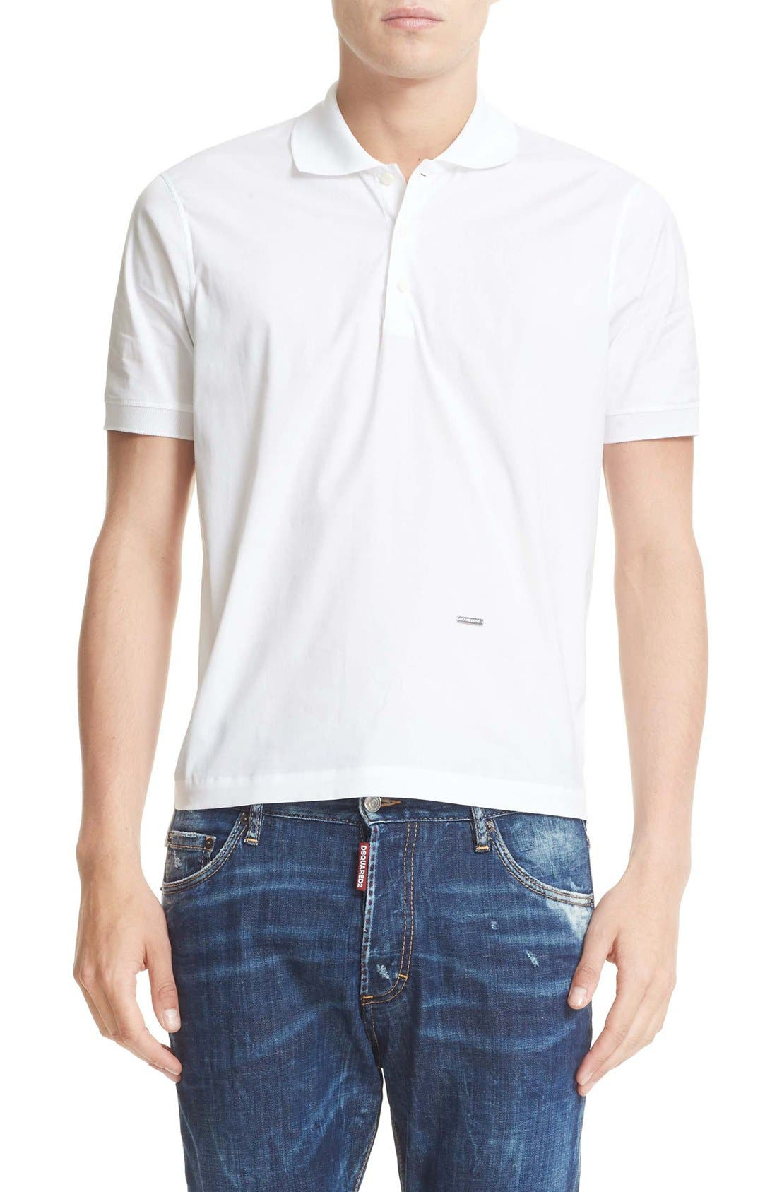 Extra Trim Fit Polo,                         Main,                         color, White