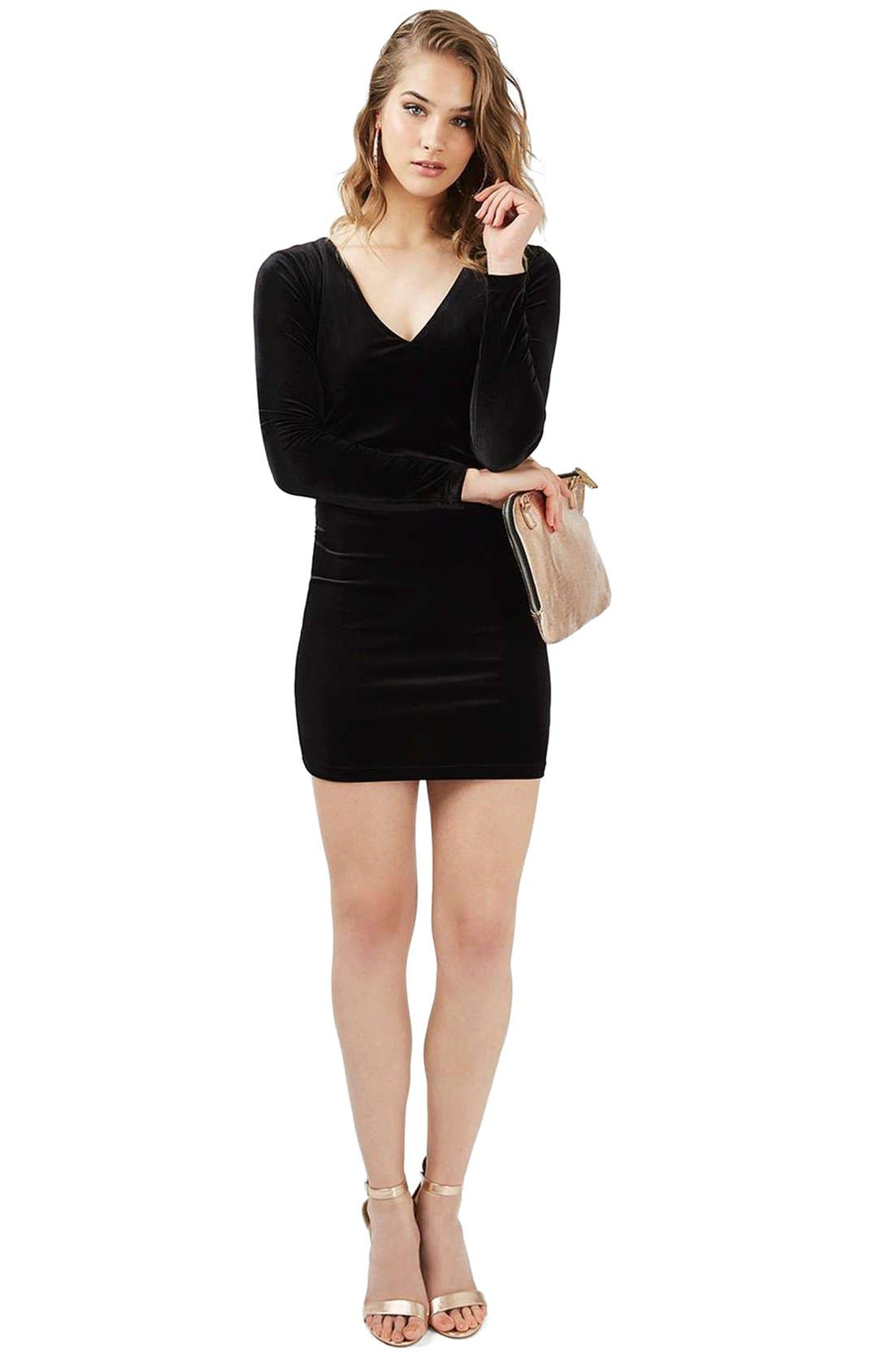 Alternate Image 2  - Topshop Lace-Up Velvet Body-Con Dress