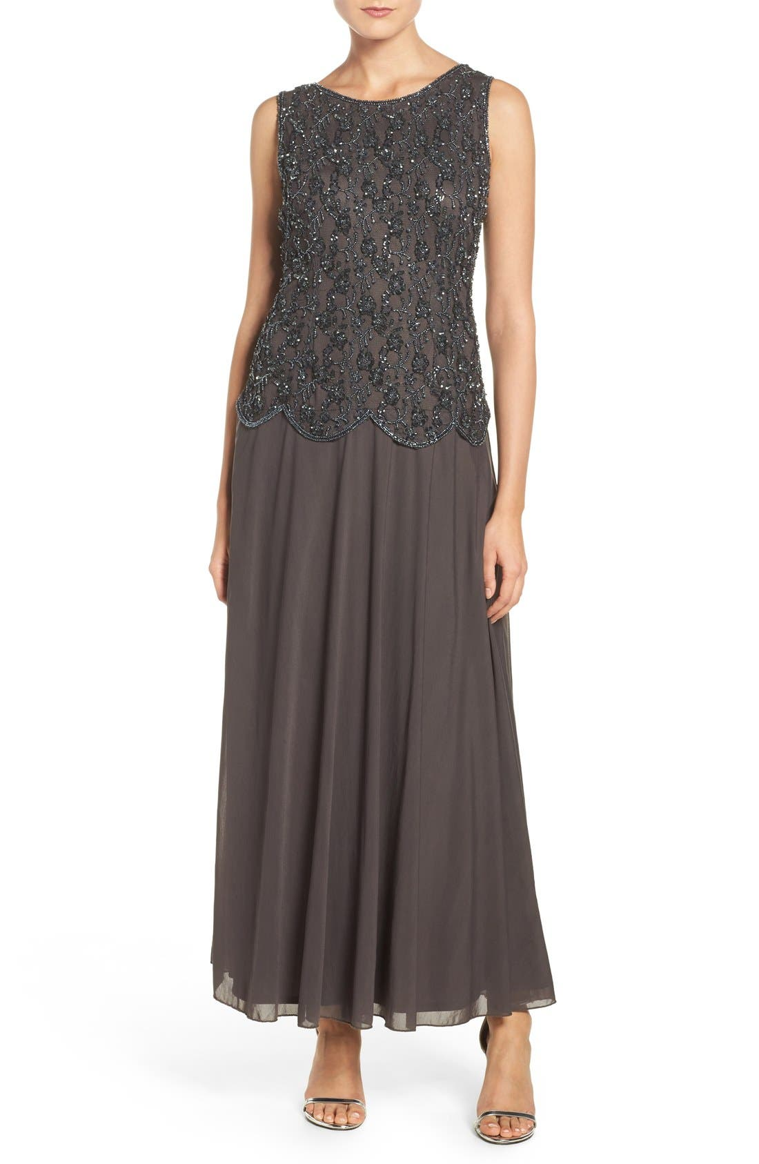 Embellished Mesh Gown,                         Main,                         color, Slate