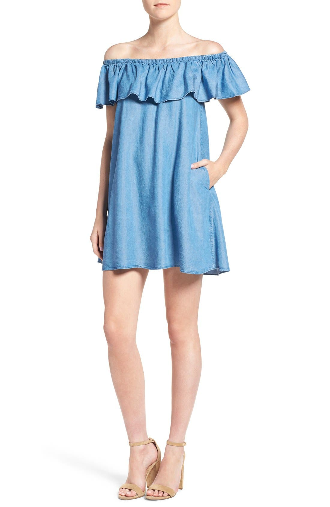 Rebecca Minkoff Dev Chambray Off the Shoulder Trapeze Dress