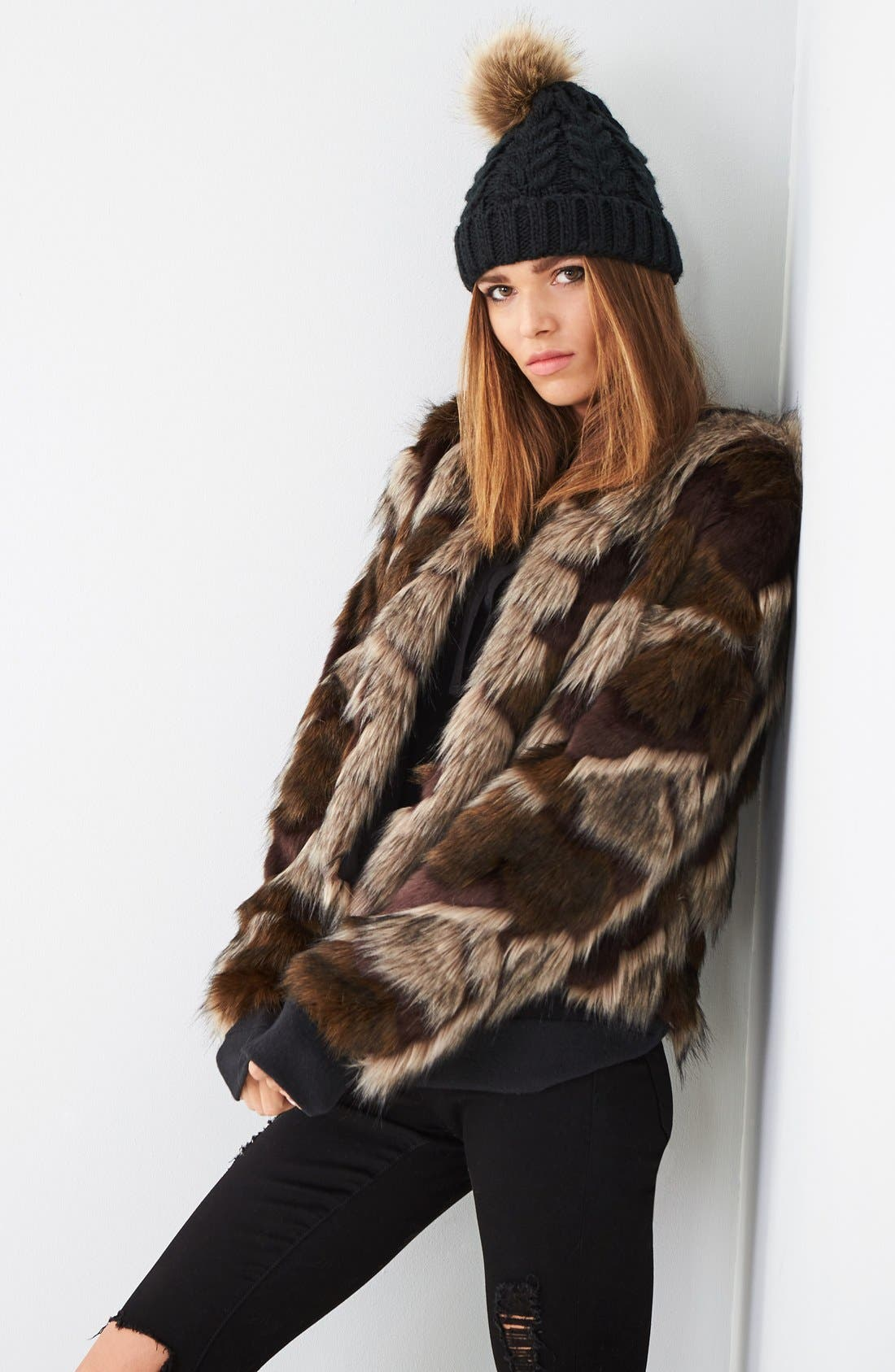 Alternate Image 2  - BP. Knit Beanie with Faux Fur Pompom