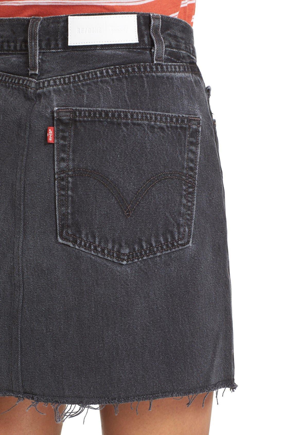High Waist Repurposed Denim Miniskirt,                             Alternate thumbnail 4, color,                             Black
