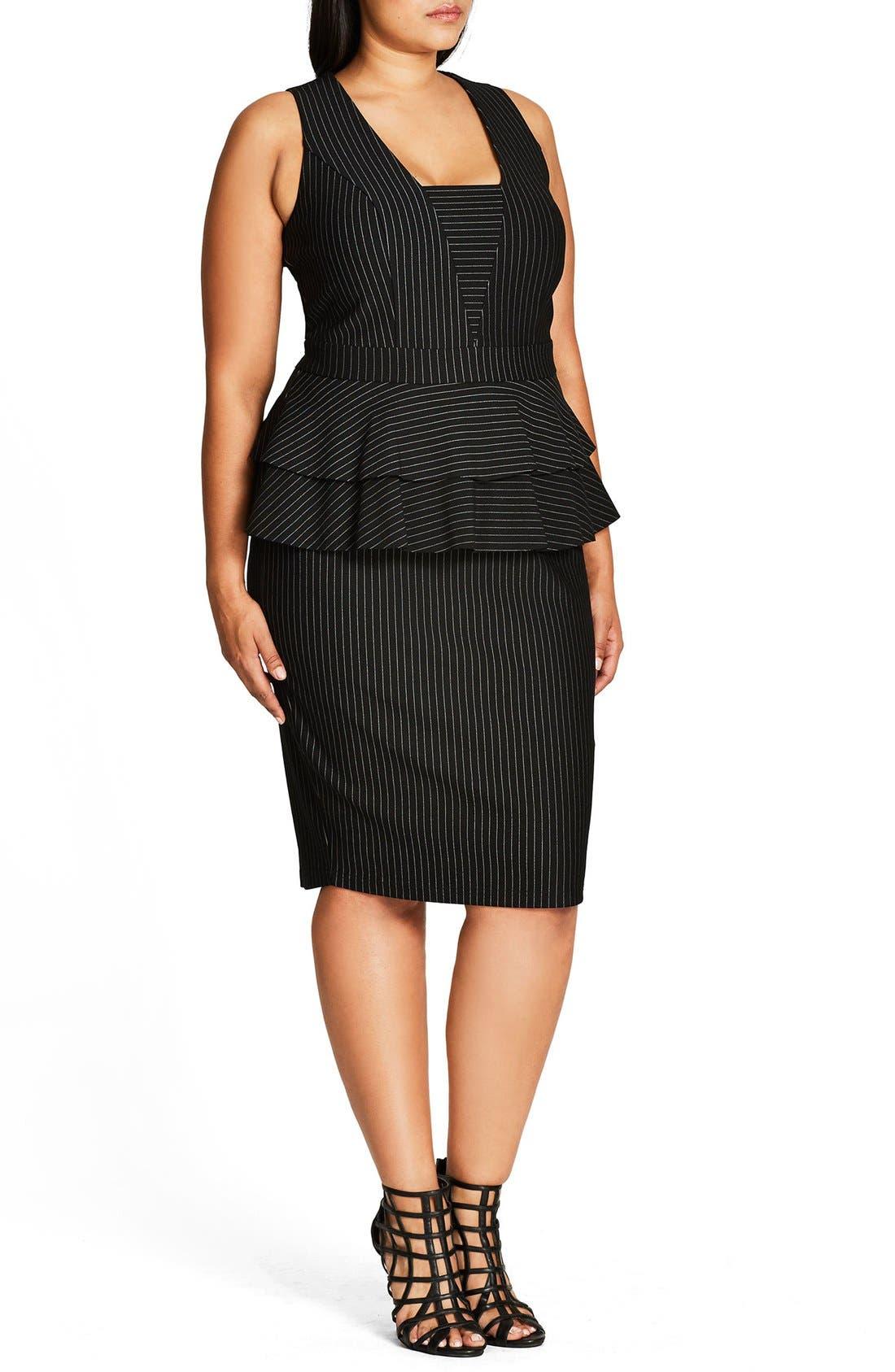 Sexy Stripe Tiered Peplum Sheath Dress,                             Alternate thumbnail 3, color,                             Black