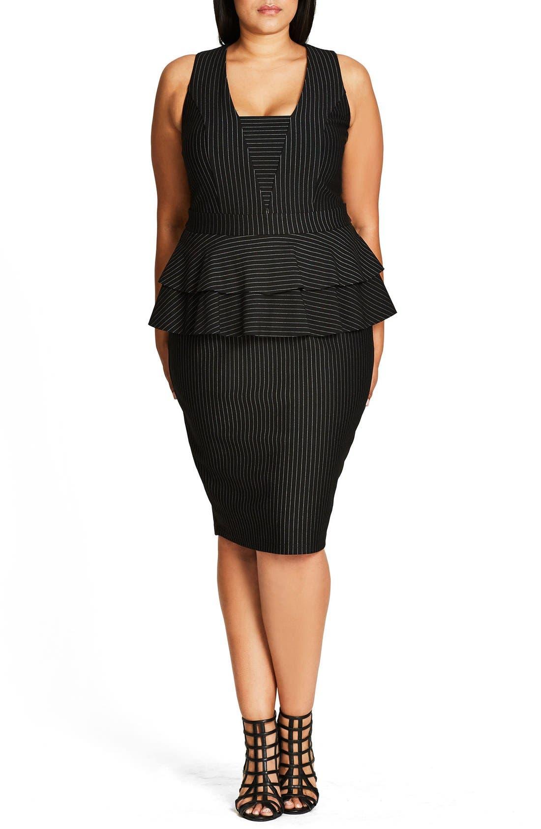 Sexy Stripe Tiered Peplum Sheath Dress,                         Main,                         color, Black