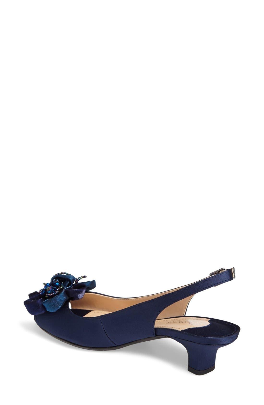 Leonelle Slingback Crystal Embellished Sandal,                             Alternate thumbnail 2, color,                             Navy Satin