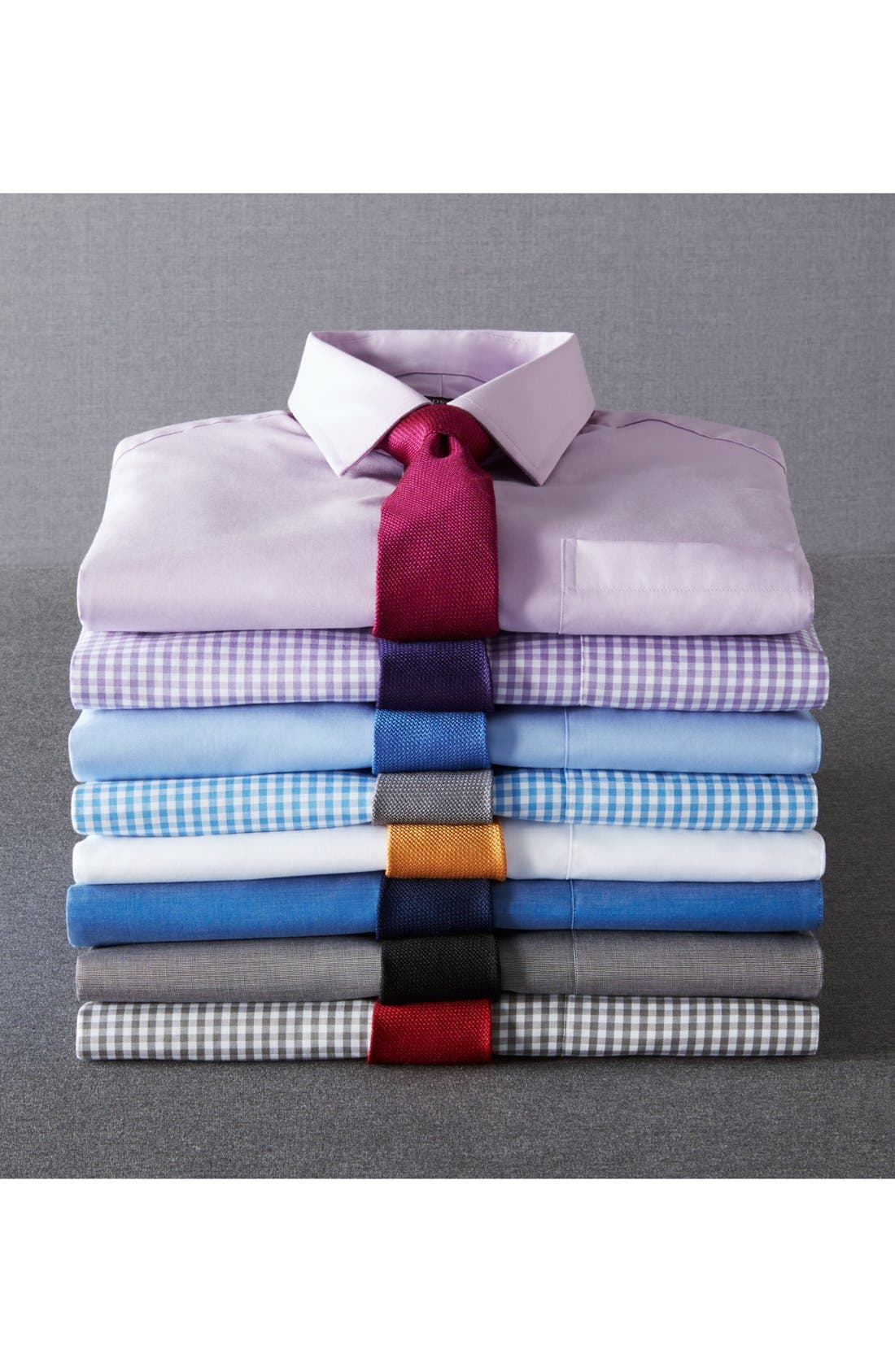 Trim Fit Non-Iron Gingham Dress Shirt,                             Alternate thumbnail 7, color,
