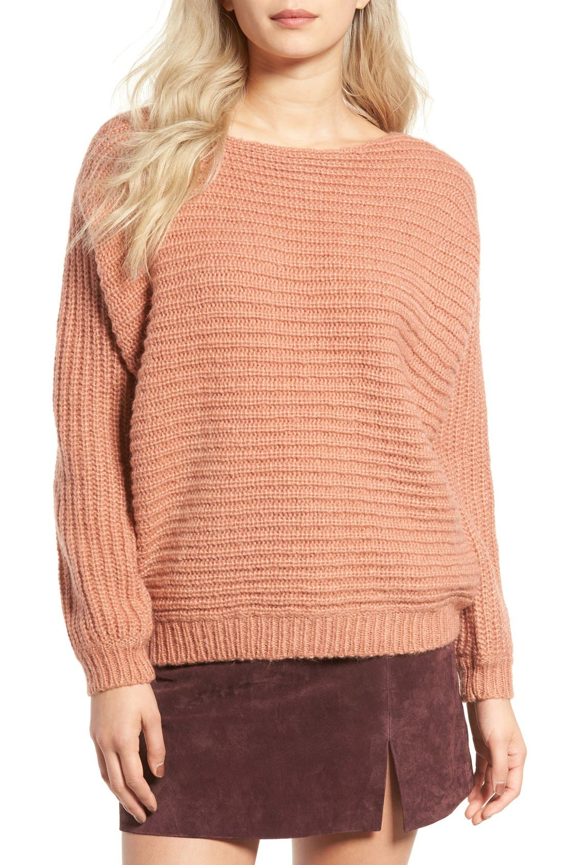 Alternate Image 1 Selected - Glamorous Open Back Boyfriend Sweater