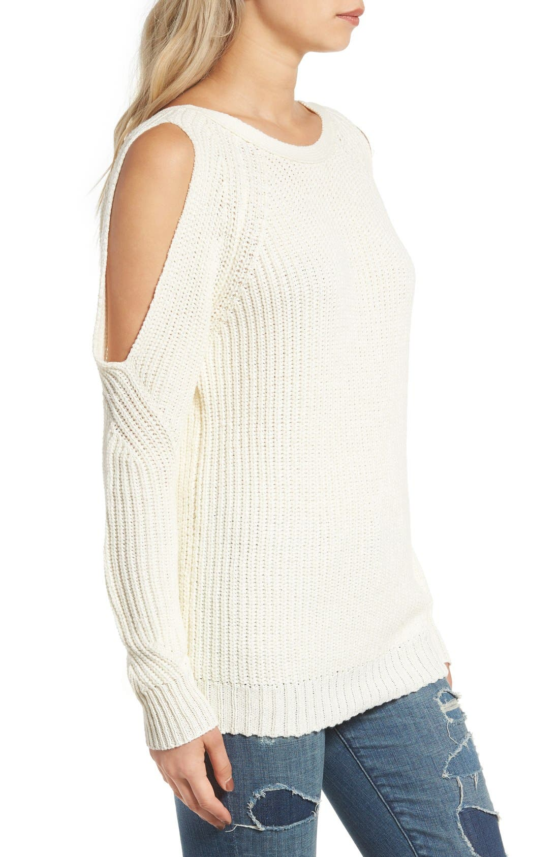 Cold Shoulder Sweater,                             Alternate thumbnail 3, color,                             Cream