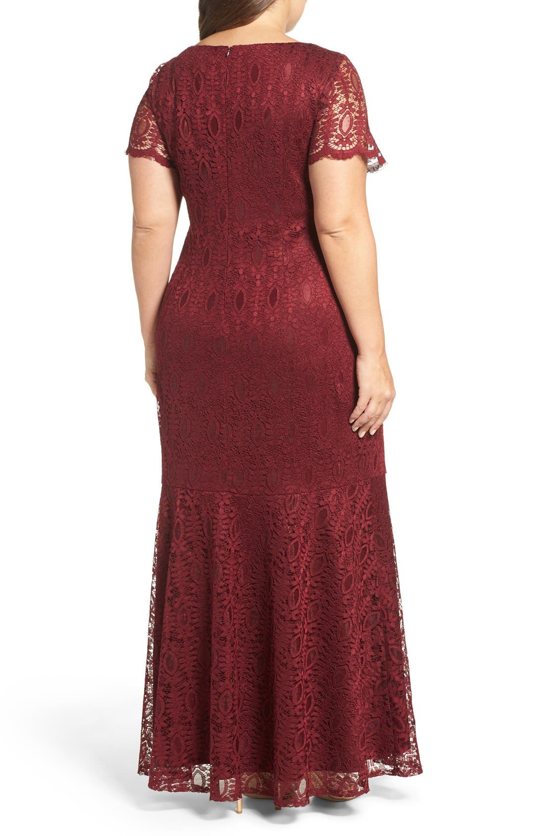 Embellished Lace Mermaid Gown,                             Alternate thumbnail 2, color,                             Garnet