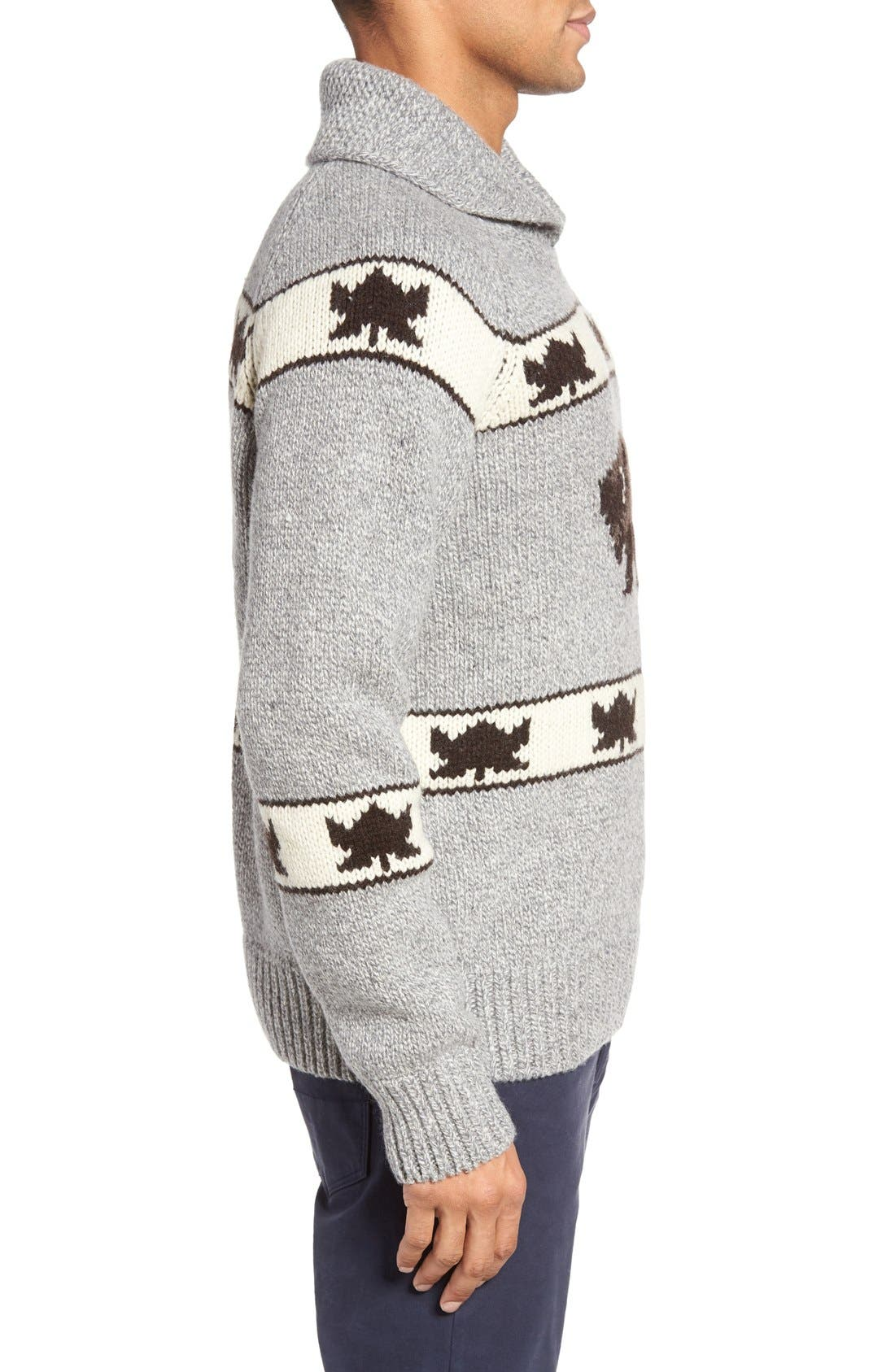 Cowichan Pullover Sweater,                             Alternate thumbnail 3, color,                             Heather Grey