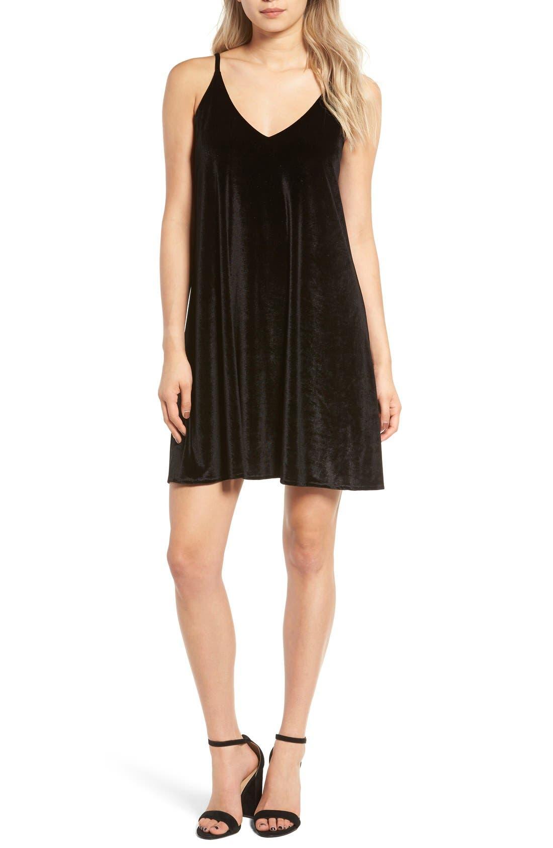 Velvet Camisole Dress,                         Main,                         color, Black