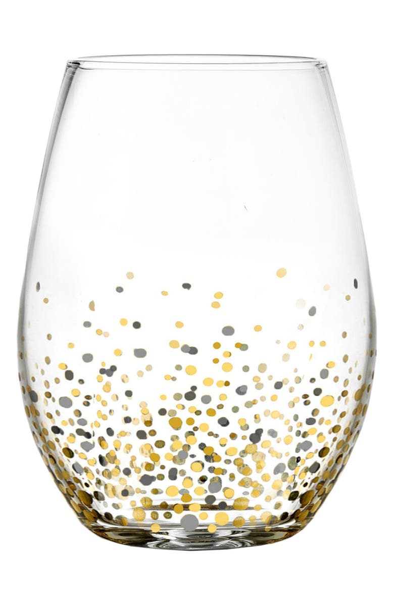 Set of 4 Confetti Stemless Wine Glasses, Main, color, Black/ Gold
