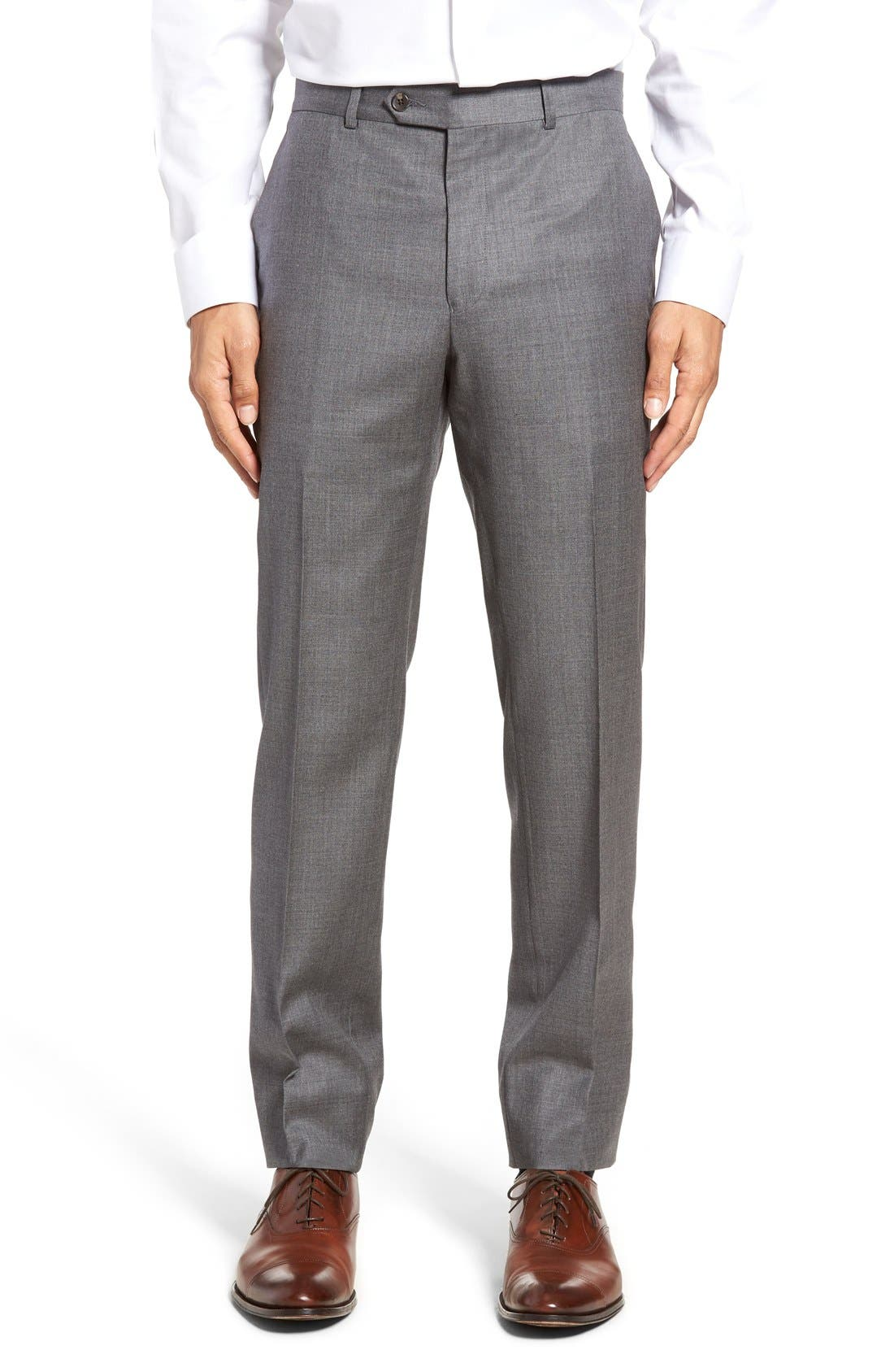 Dagger Flat Front Solid Wool Trousers,                         Main,                         color, Medium Grey