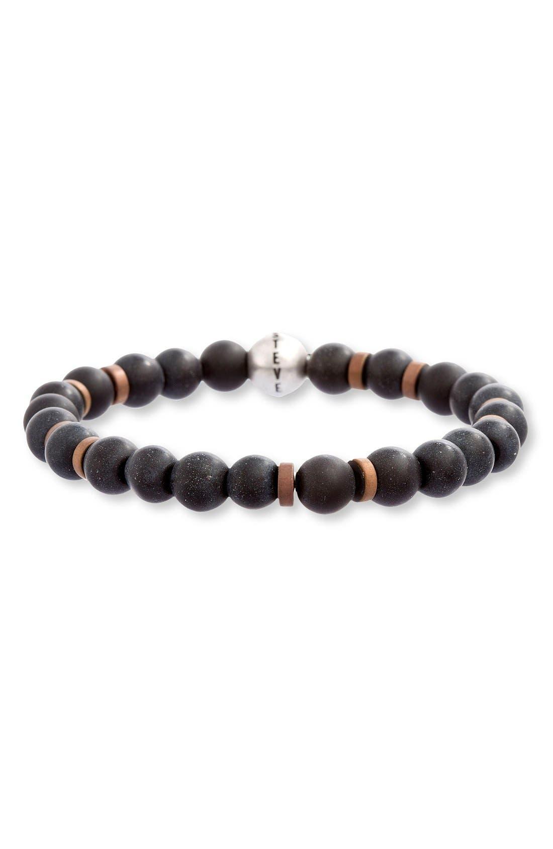 Wood Bead Bracelet,                             Main thumbnail 1, color,                             Black