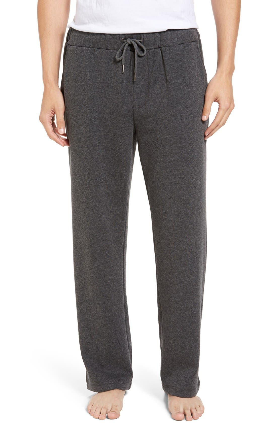 Fleece Lounge Pants,                         Main,                         color, Grey Heather