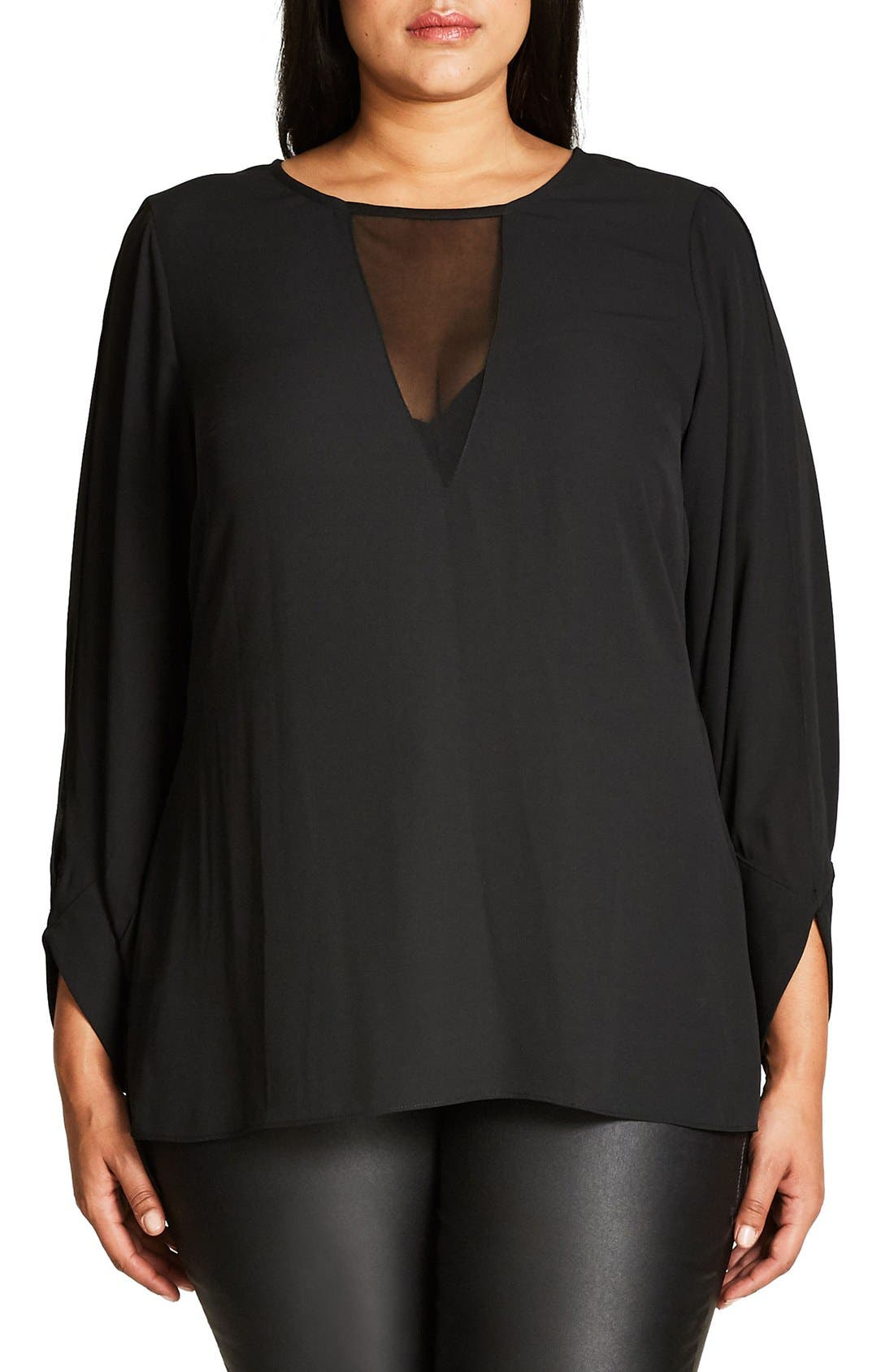 Alternate Image 1 Selected - City Chic Peekaboo Blouse (Plus Size)