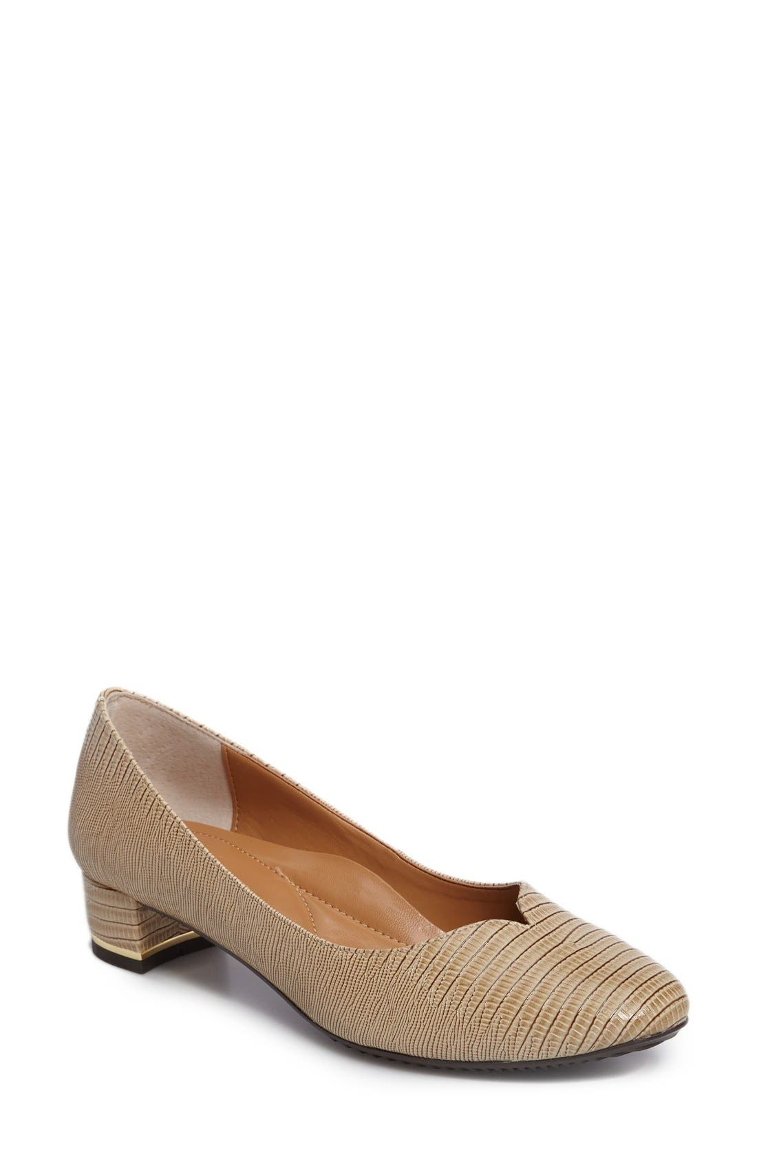 Bambalina Block Heel Pump,                             Main thumbnail 1, color,                             Taupe Faux Leather