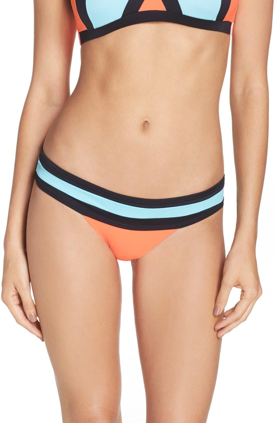 Colorblock Bikini Bottoms,                             Alternate thumbnail 2, color,                             Coral
