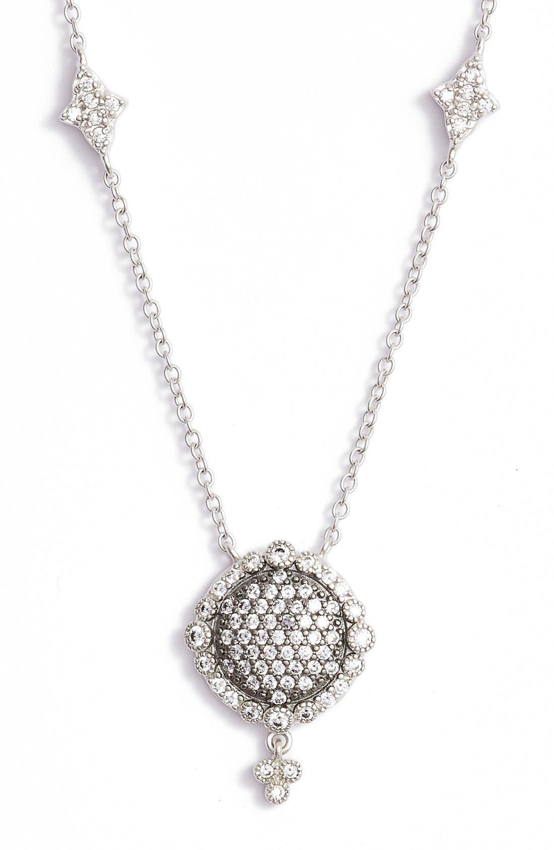 Disc Pendant Necklace,                         Main,                         color, Rhodium/ Black Rhodium