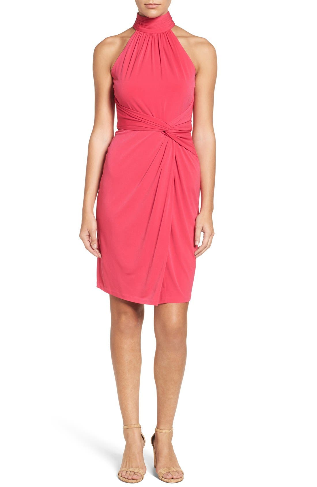 Jazz Halter Style Twist Front Dress,                         Main,                         color, Pinup Pink