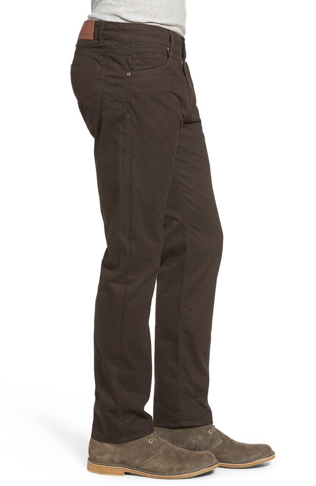 Mini Check Five-Pocket Pants,                             Alternate thumbnail 3, color,                             Truffle