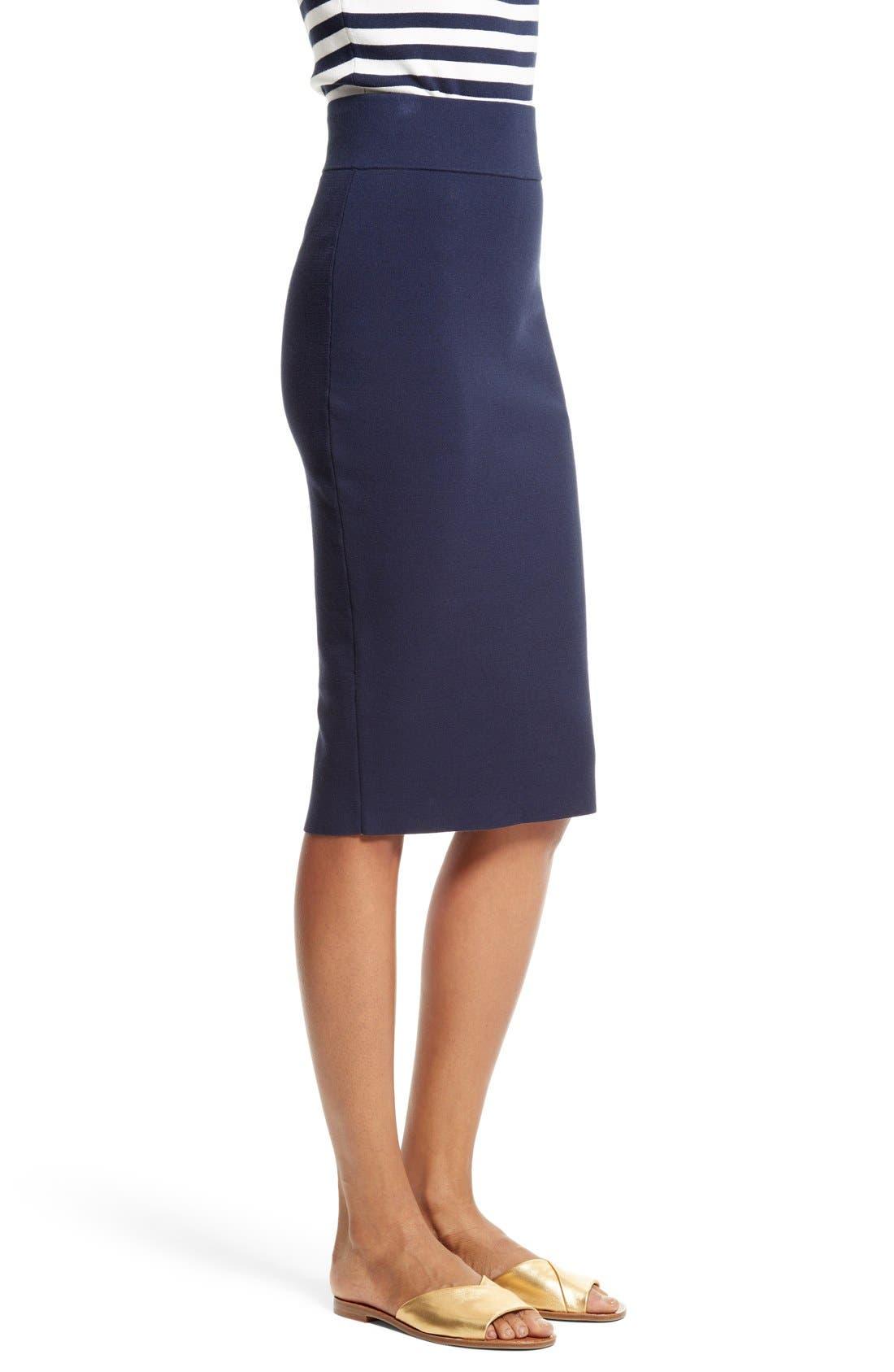 Stretch Knit Pencil Skirt,                             Alternate thumbnail 4, color,                             Navy