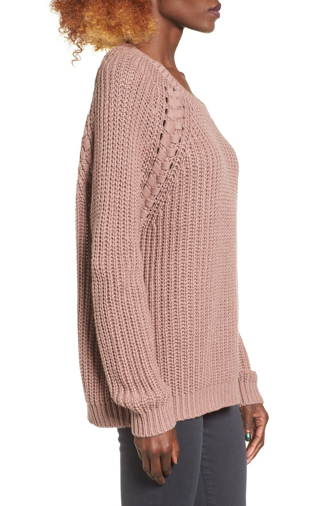 Braided Detail Pullover,                             Alternate thumbnail 3, color,                             Tan Antler