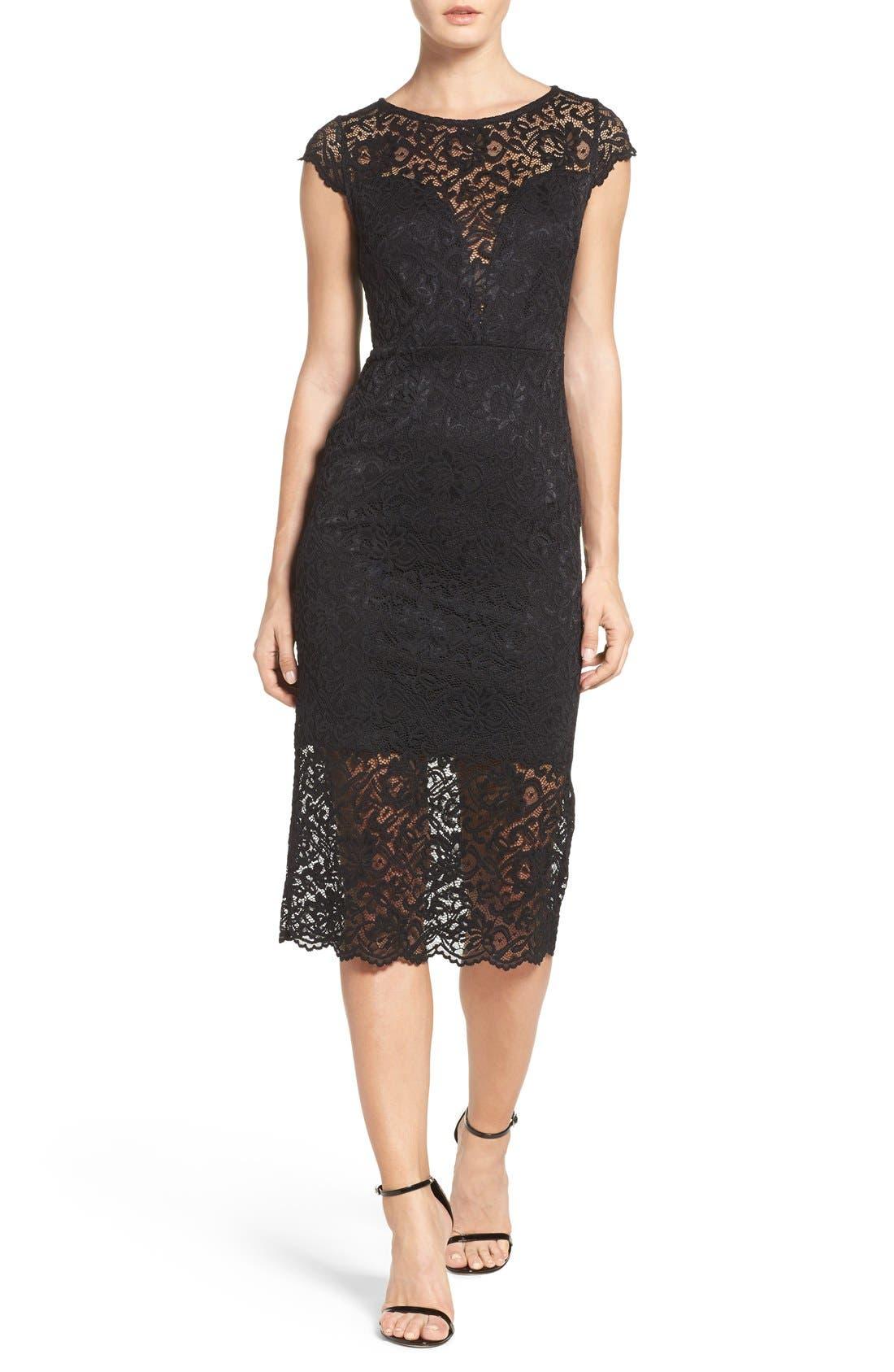 Alternate Image 1 Selected - Fraiche by J Lace Midi Dress