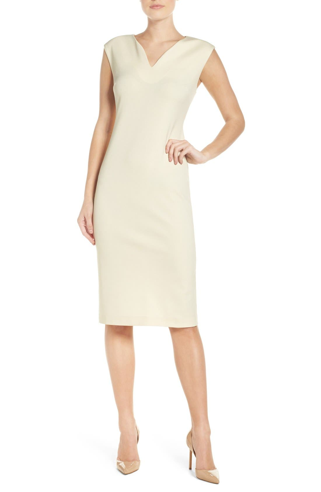 ECI Metallic Ponte Sheath Dress