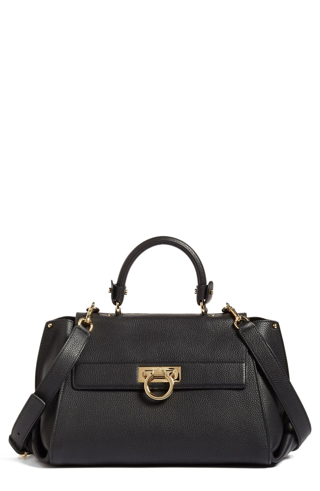 Salvatore Ferragamo Medium Pebbled Leather Satchel