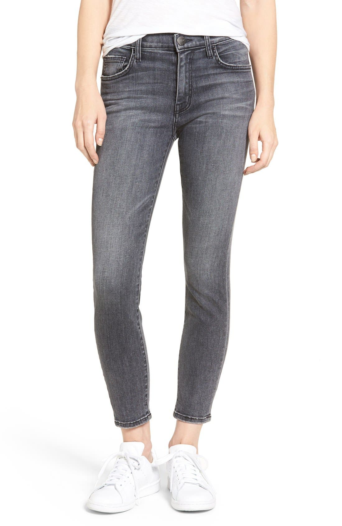 The High Waist Stiletto Ankle Skinny Jeans,                             Main thumbnail 1, color,                             Everett