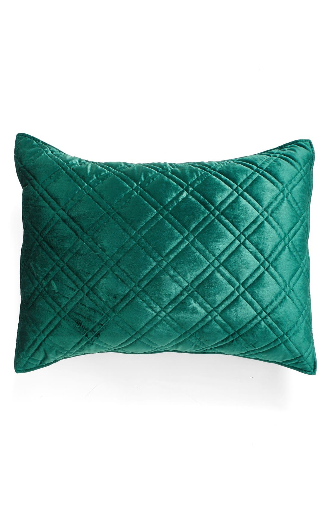 Quilted Velvet Standard Sham,                             Main thumbnail 1, color,                             Emerald